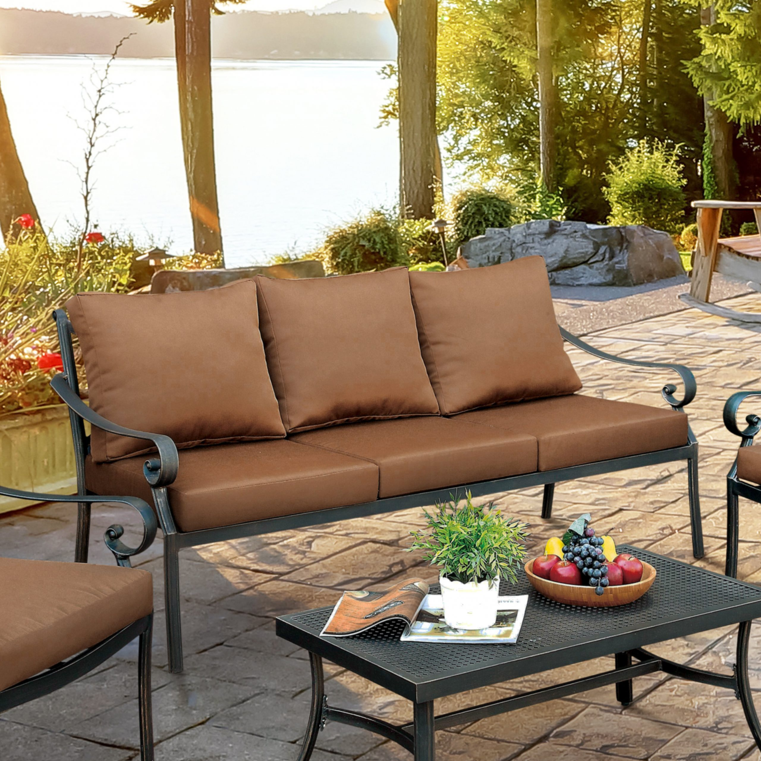 Recent Dominque Patio Sofa With Cushions Intended For Rossville Outdoor Patio Sofas With Cushions (View 23 of 25)