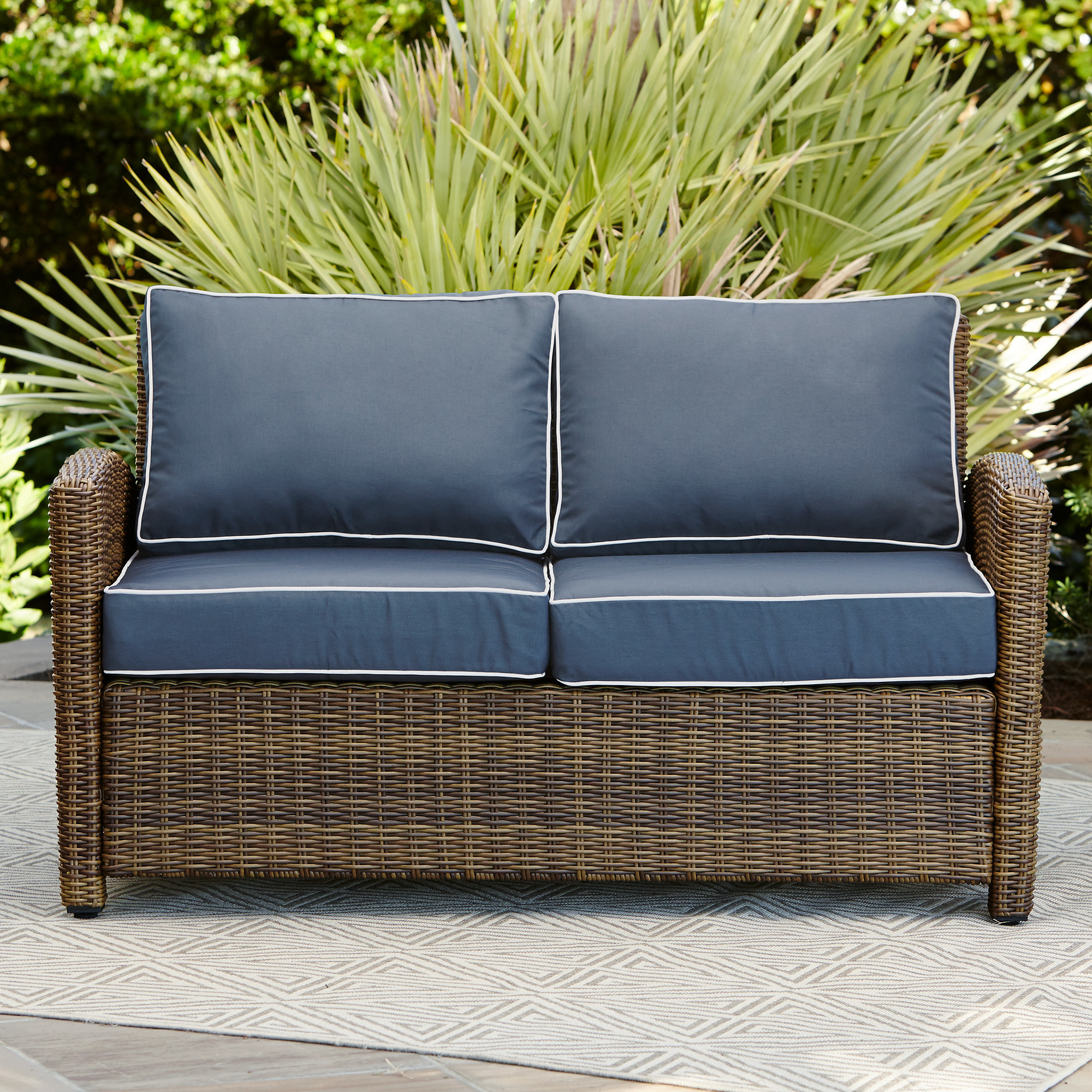 Recent Furniture: Mesmerizing Wicker Loveseat For Outdoor Or Indoor Throughout Lawson Wicker Loveseats With Cushions (View 9 of 25)