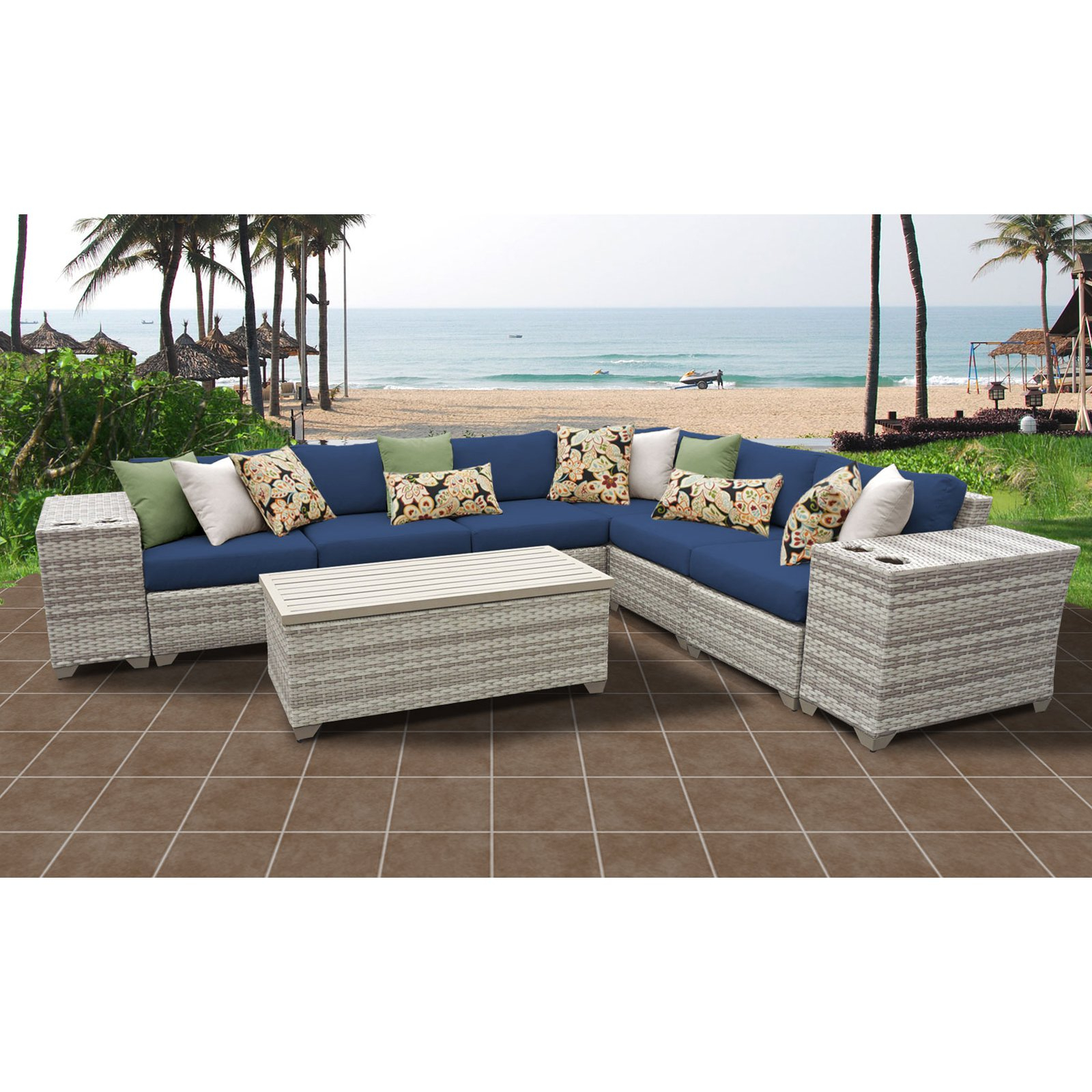 Recent Outdoor Tk Classics Fairmont All Weather Wicker 9 Piece With Catalina Outdoor Right Arm Sectional Pieces With Cushions (Gallery 16 of 25)