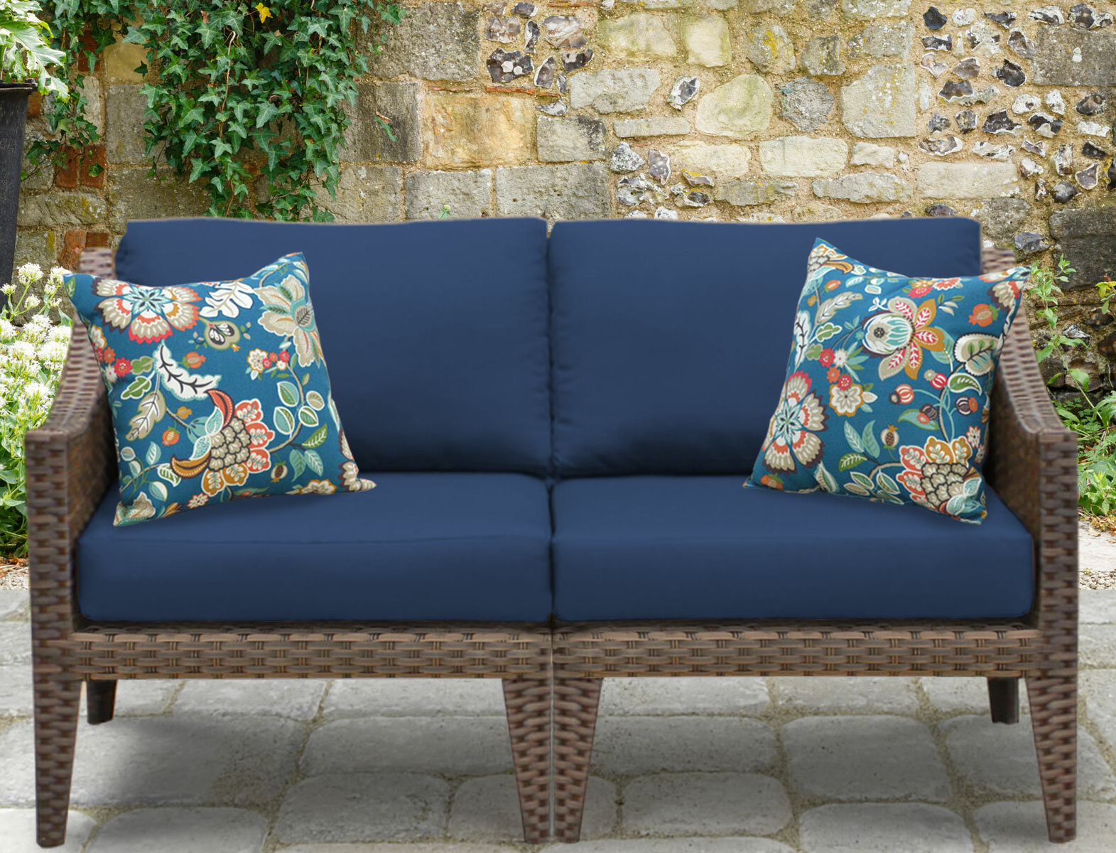 Recent Tk Classics Manhattan Outdoor Loveseat With Cushions Throughout Wakeland Wicker Loveseats With Cushions (View 9 of 25)