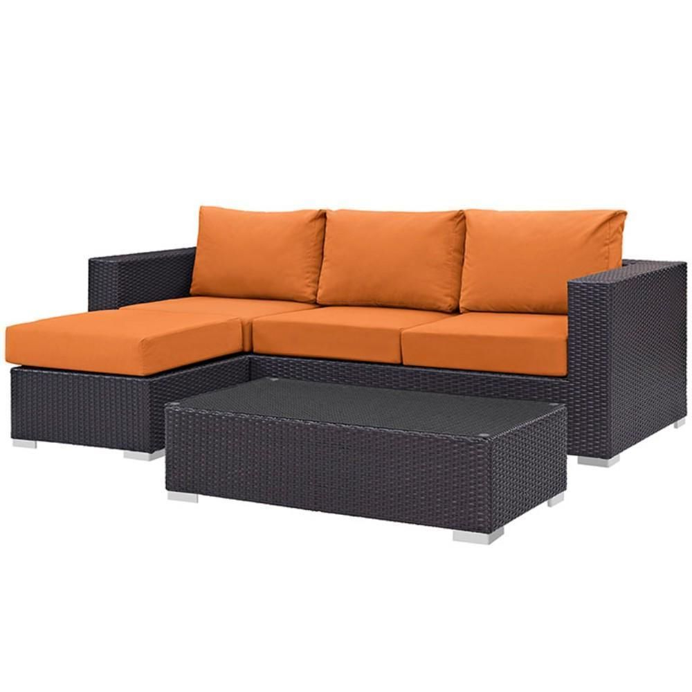 Recent Waterbury Patio Sectionals With Cushions In Convene 3 Piece Outdoor Patio Sofa Set, Espresso Orange Size (Gallery 24 of 25)