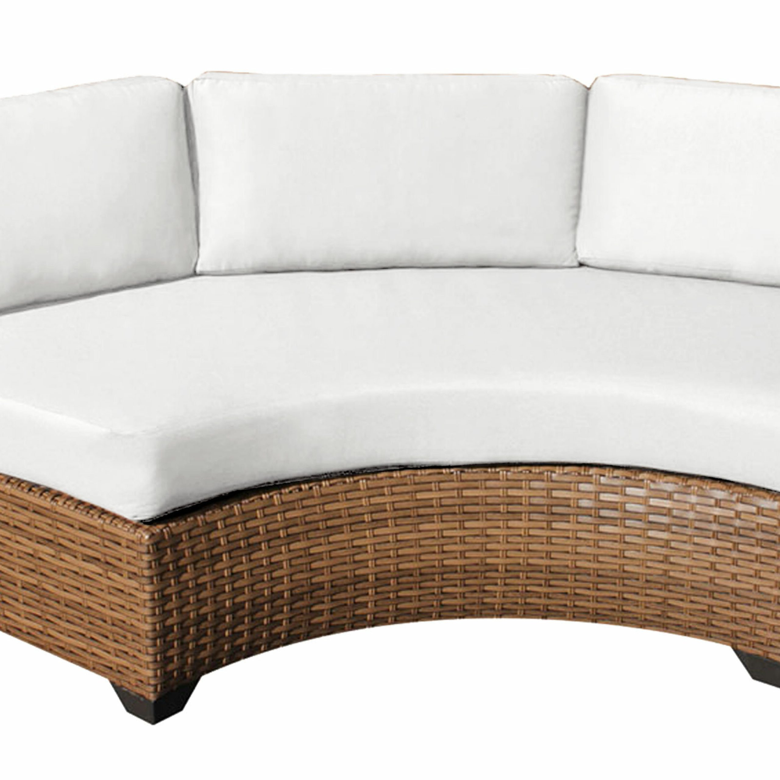 Repp Patio Sofas With Cushion Throughout Newest Waterbury Curved Armless Sofa With Cushions (View 16 of 25)