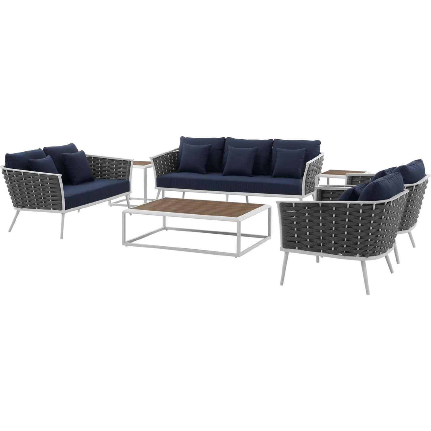 Rossville Outdoor Patio Sofas With Cushions Inside Fashionable Stance 7 Piece Outdoor Sofa Set In White W/ Navy Blue Fabric (View 5 of 25)