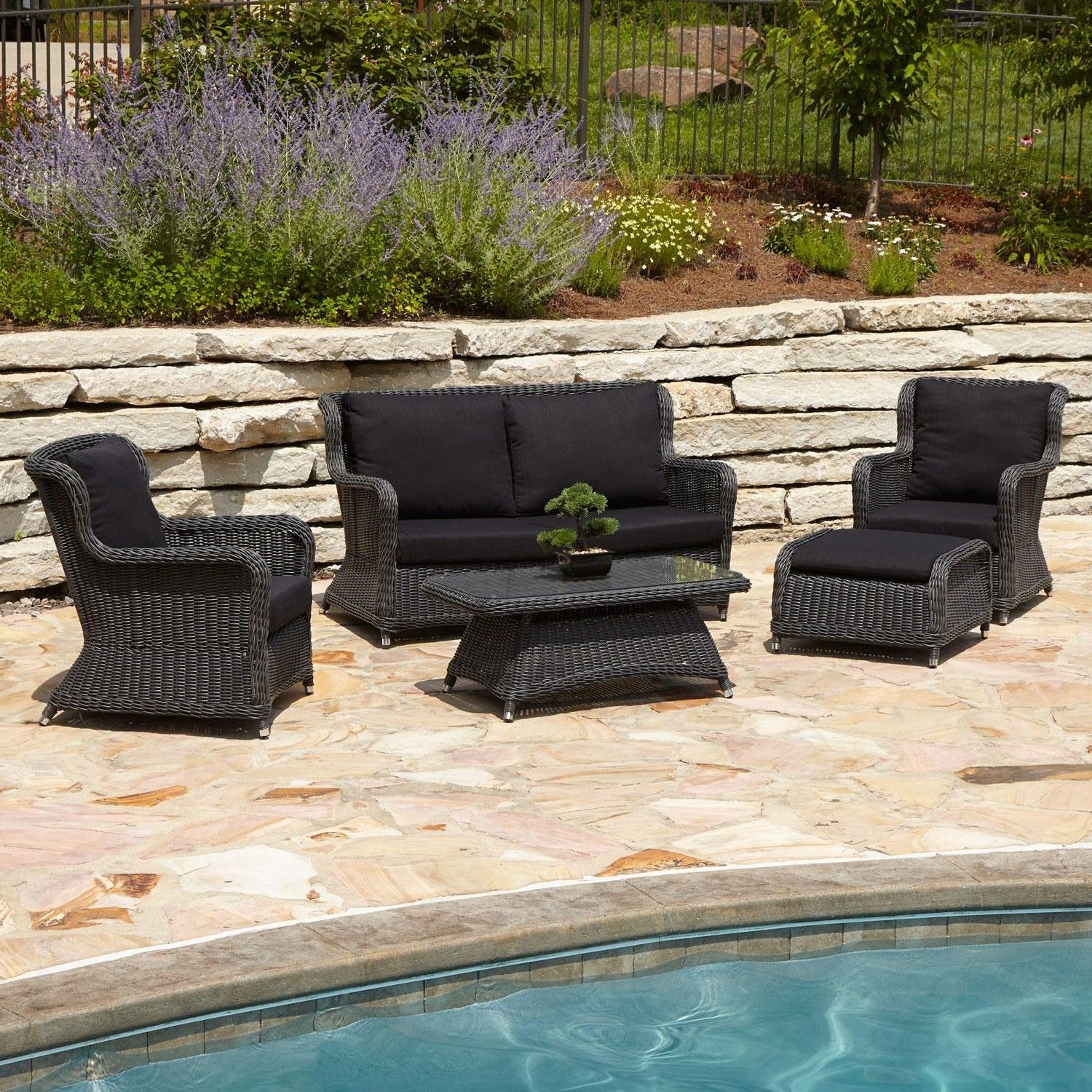 Rossville Outdoor Patio Sofas With Cushions Intended For Favorite Alcee Resin Wicker 5 Piece Patio Lounge Set (View 22 of 25)