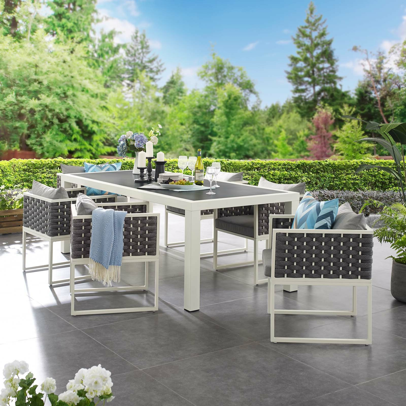 Rossville Outdoor Patio Sofas With Cushions Pertaining To Widely Used Rossville 7 Piece Dining Set With Cushions (View 9 of 25)