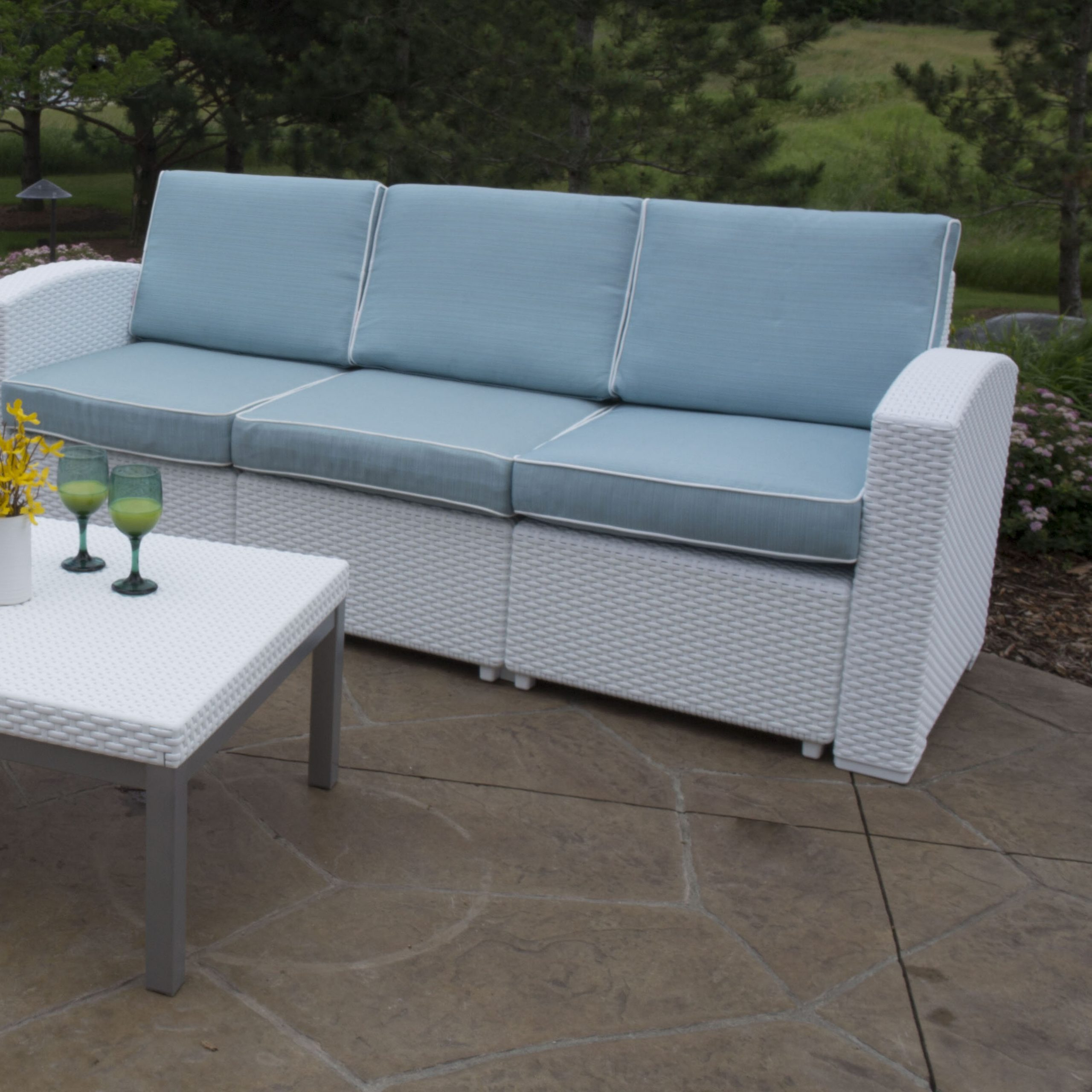 Saleem Loveseats With Cushions In Best And Newest Loggins Patio Sofa With Cushions (View 17 of 25)