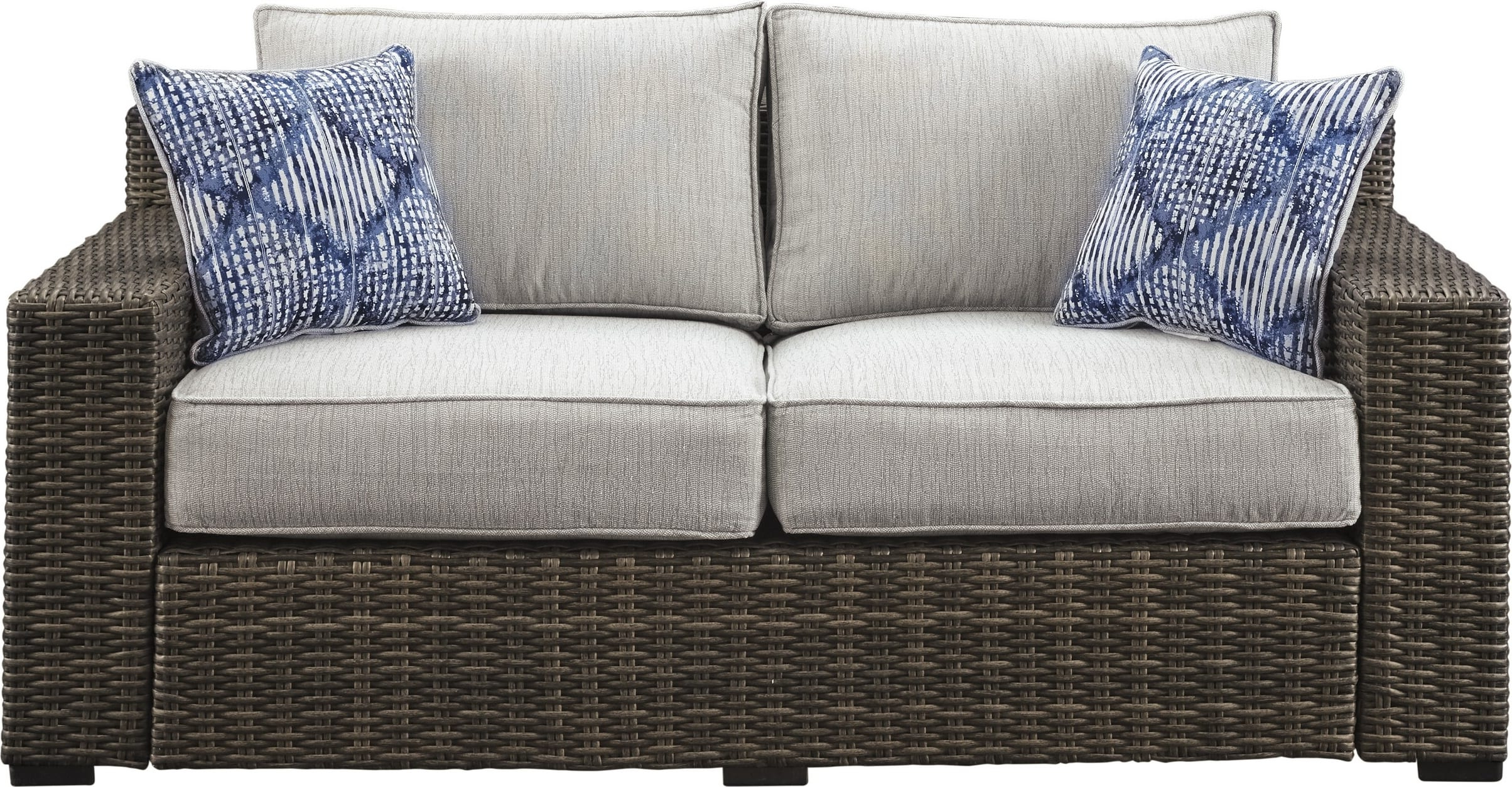 Signature Designashley P782 835 Regarding Latest Oceanside Outdoor Wicker Loveseats With Cushions (View 23 of 25)