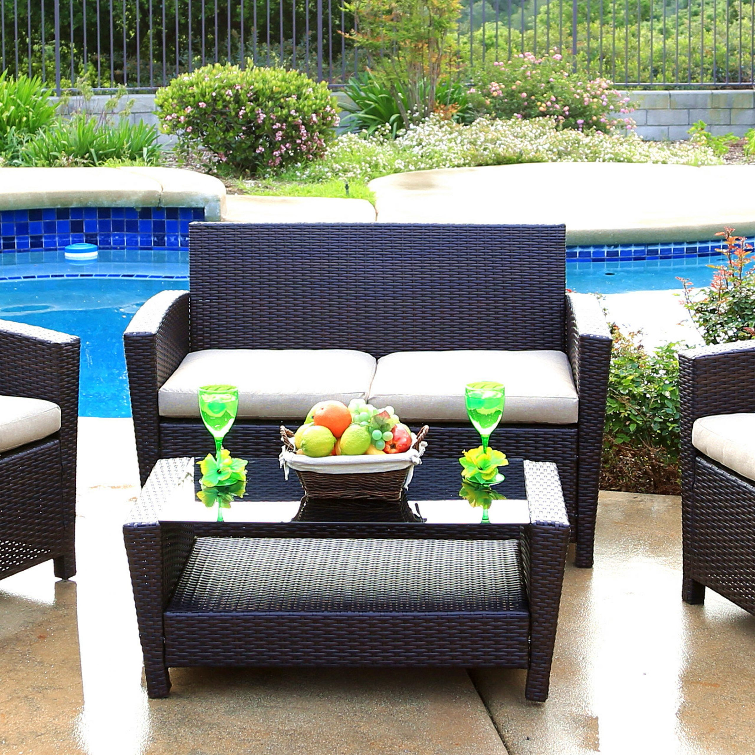 Stickles 4 Piece Sofa Seating Group With Cushions Within 2020 Wakeland Wicker Loveseats With Cushions (View 25 of 25)