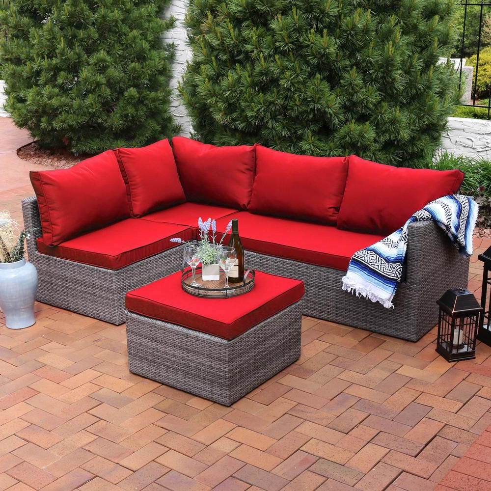 Sunnydaze Decor Port Antonio Gray 4 Piece Wicker Outdoor Intended For Most Up To Date Tegan Patio Sofas With Cushions (View 13 of 25)