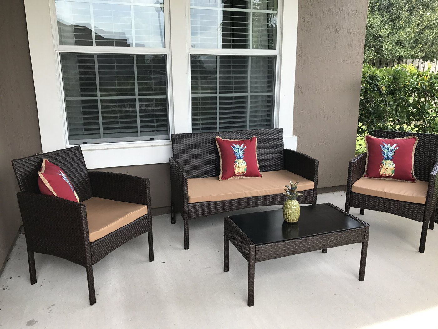 Tessio 4 Piece Rattan Sofa Seating Group With Cushions (View 21 of 25)