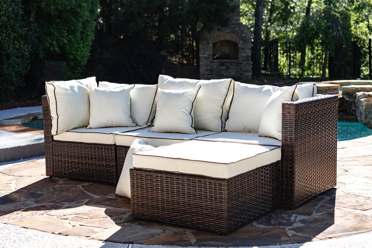 Three Posts Burruss Patio Sectional With Cushions In Widely Used Jamilla Teak Patio Sofas With Cushion (View 22 of 25)