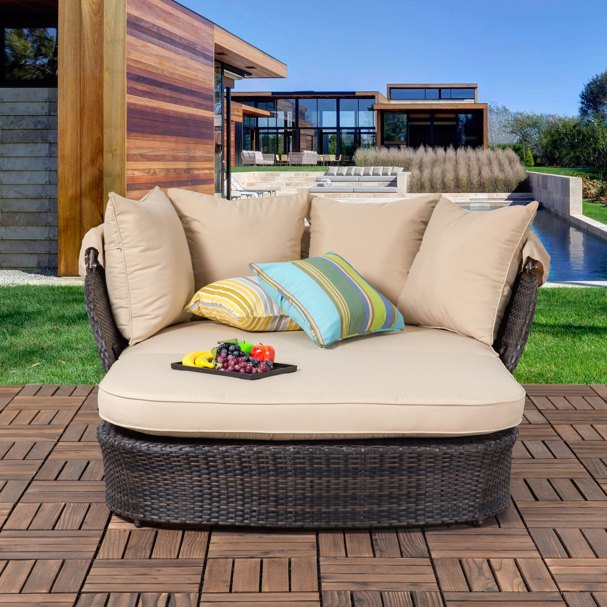 Tolbert Wicker Patio Daybed With Ottoman Intended For Favorite Naperville Patio Daybeds With Cushion (View 15 of 25)