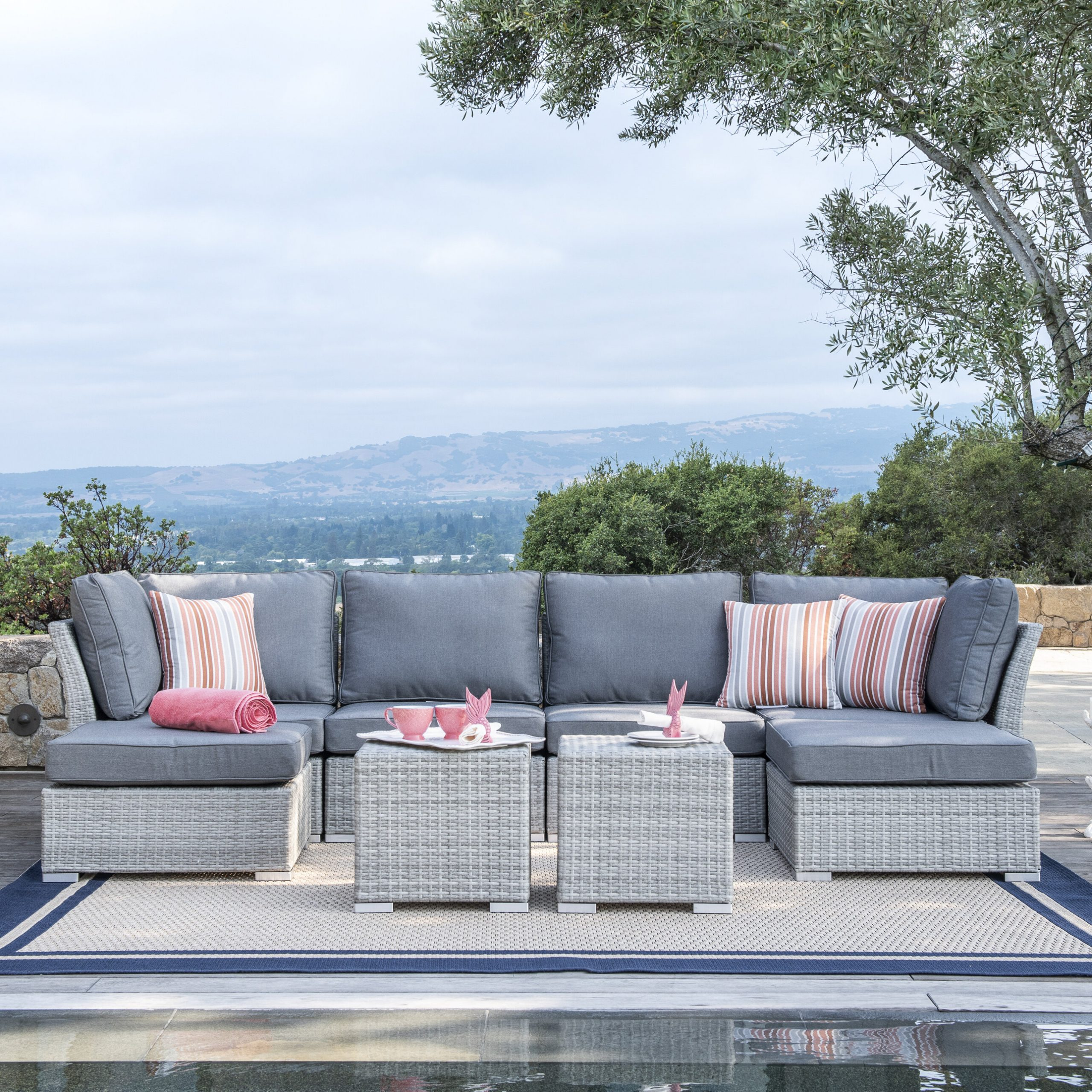 Trendy Boyce Outdoor Patio Sectionals With Cushions Regarding Orren Ellis Grijalva 8 Piece Rattan Sectional Seating Group With Cushions (View 19 of 25)