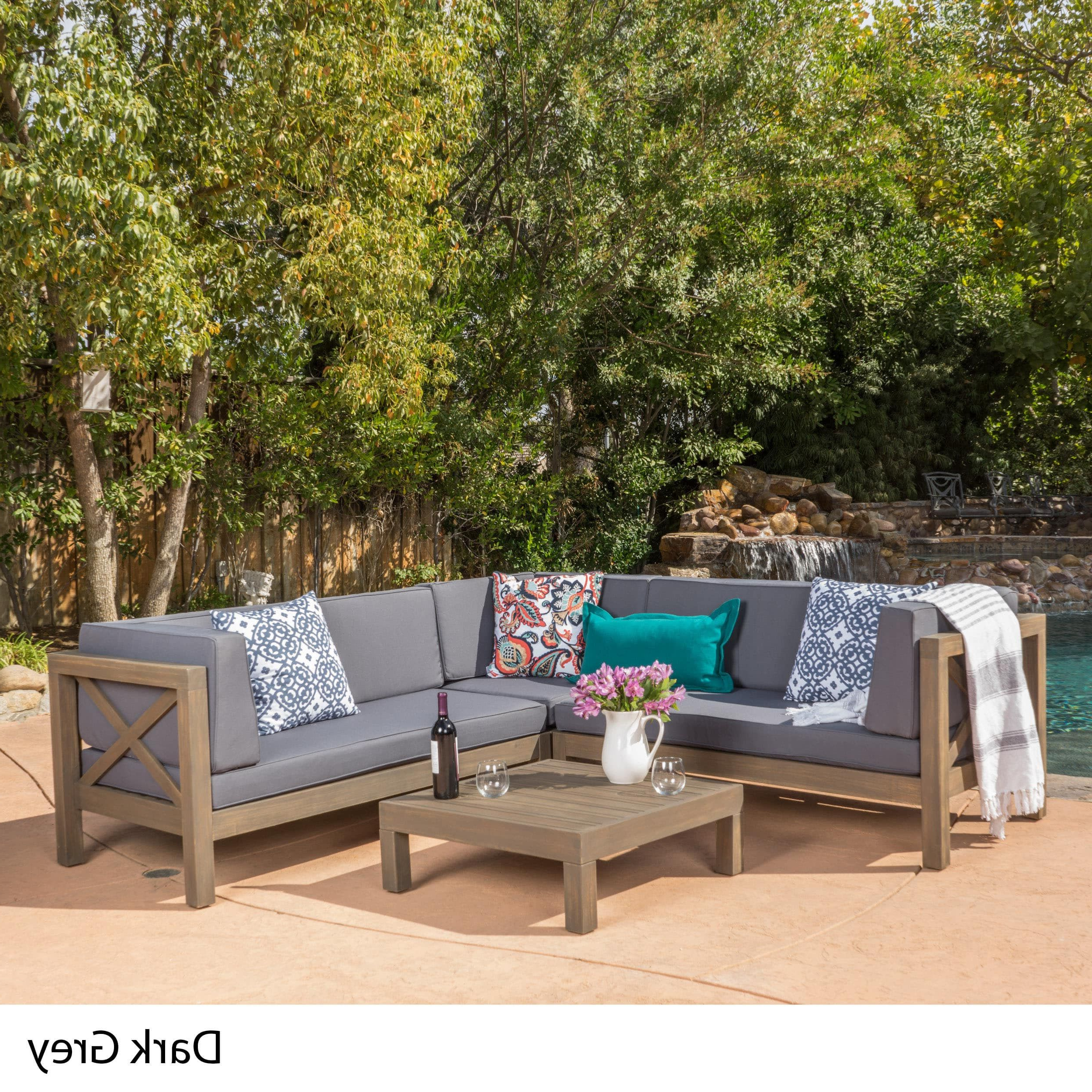 Trendy Brava Outdoor 4 Piece Wood Sectional Set W/ Cushions In Carina 4 Piece Sectionals Seating Group With Cushions (View 22 of 25)