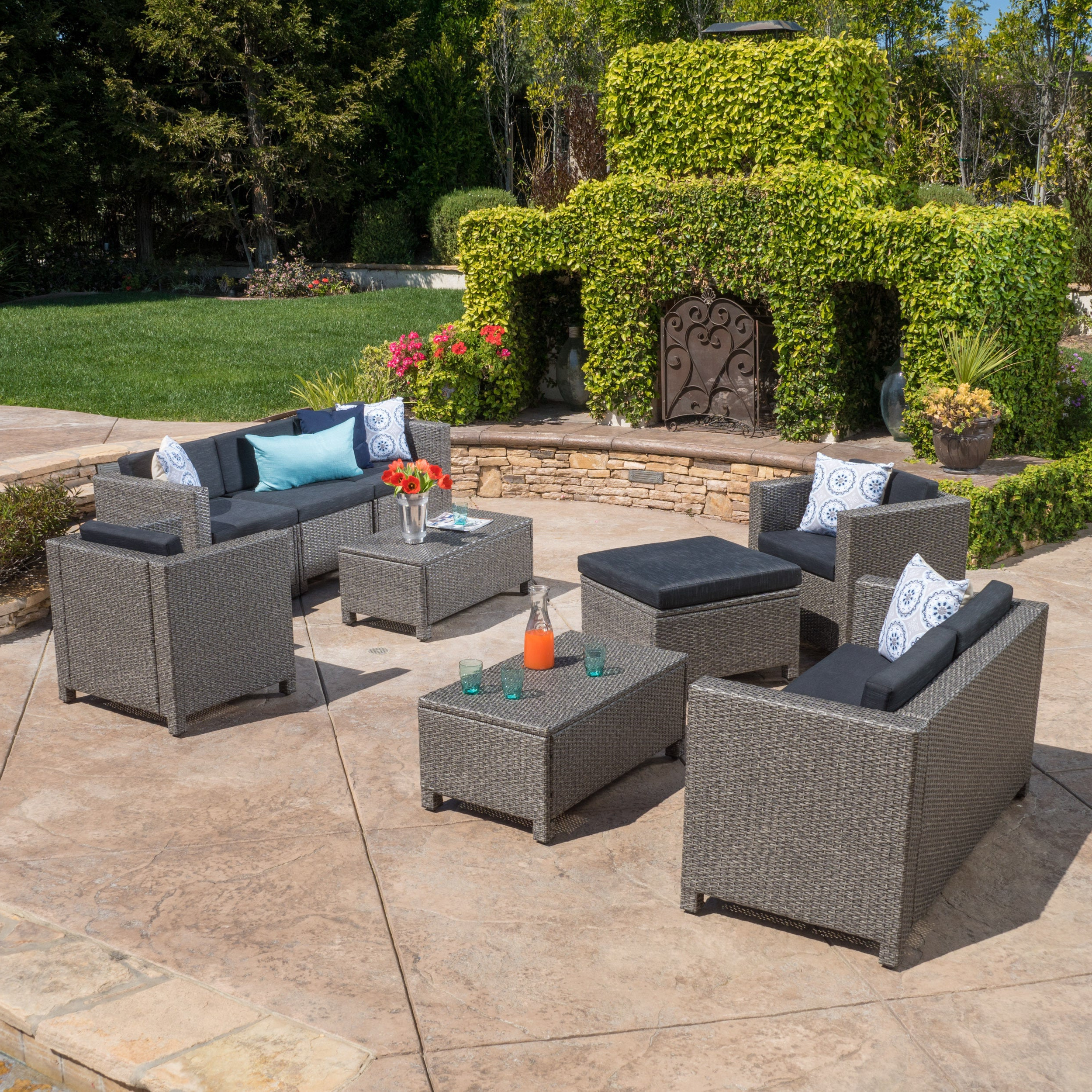 Trendy Details About Puerta Outdoor 9 Piece Wicker Sectional Sofa Set With Within Catalina Outdoor Right Arm Sectional Pieces With Cushions (View 19 of 25)
