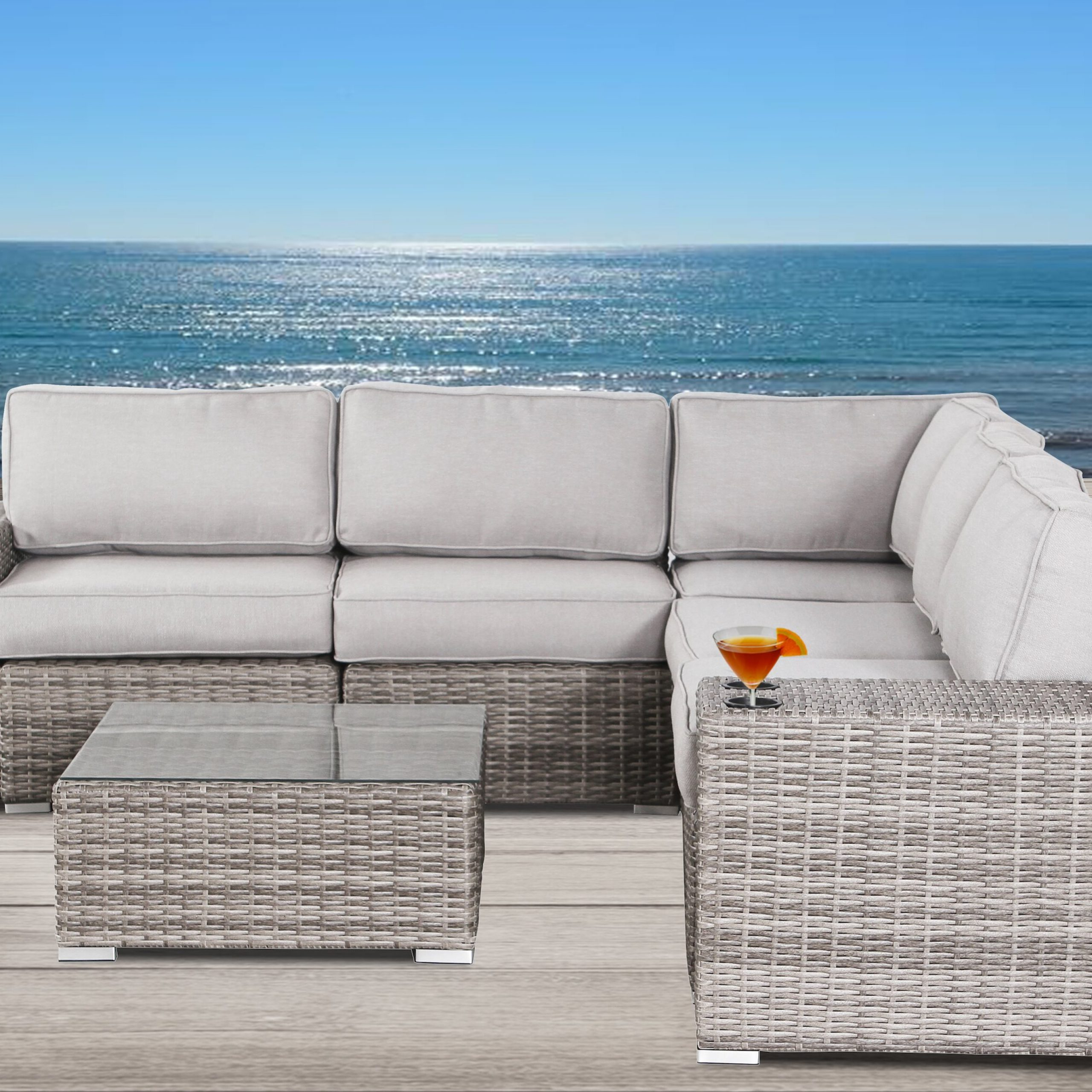 Trendy Hoyle 8 Piece Rattan Sectional Set With Cushions With Letona Patio Sectionals With Cushions (View 18 of 25)