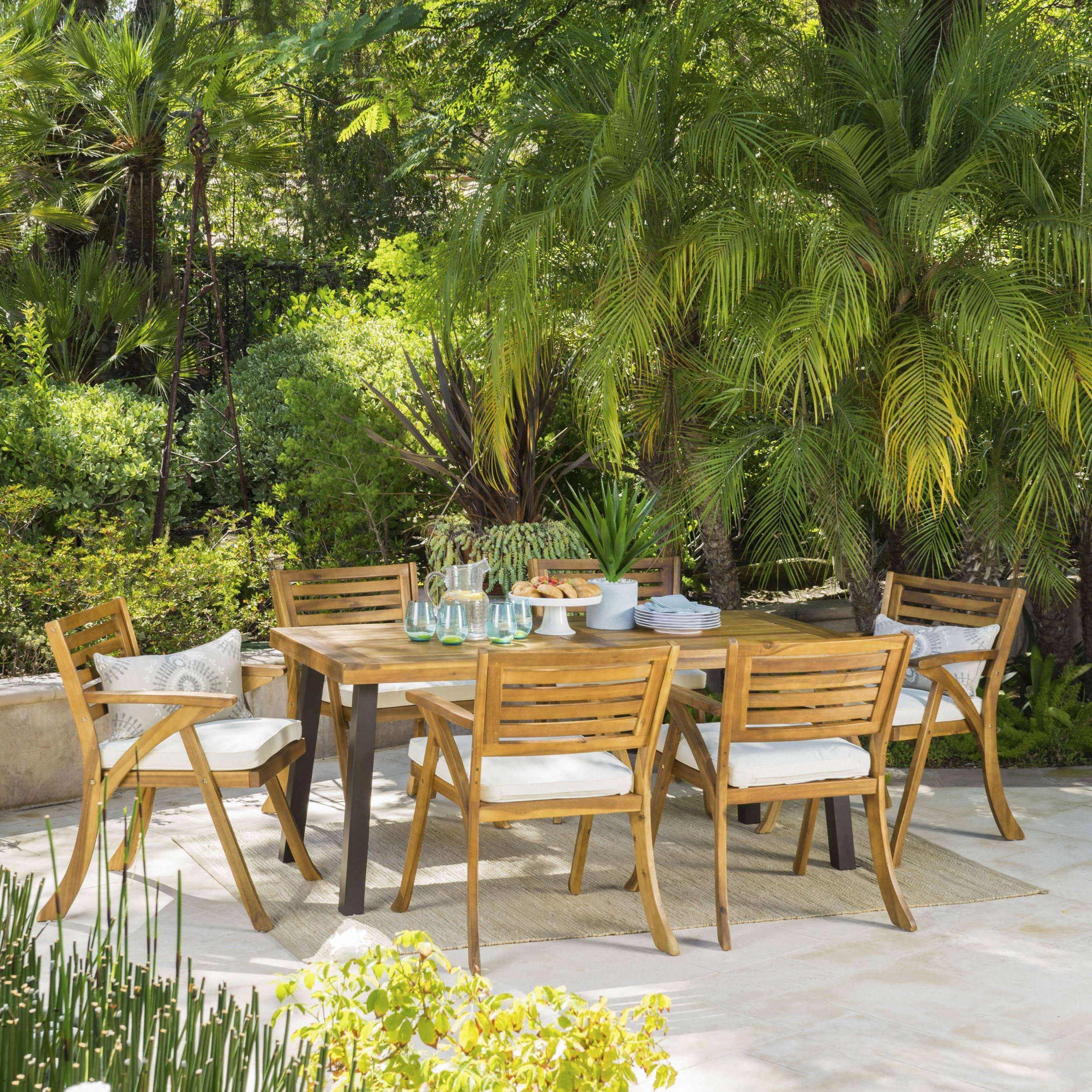 Trendy Jamilla Teak Patio Sofas With Cushion In Della Outdoor 7 Piece Rectangle Acacia Wood Dining Set With (View 25 of 25)