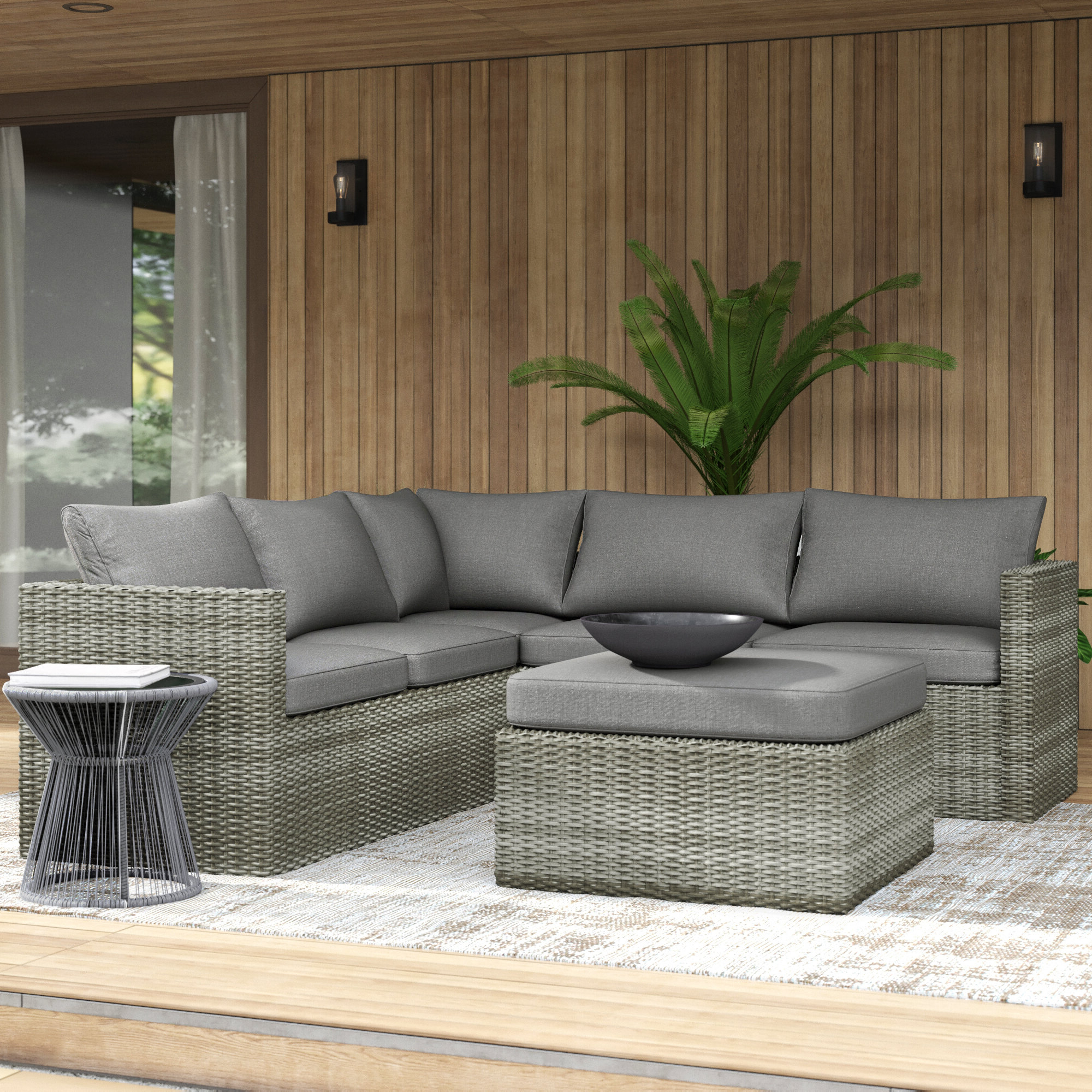 Trendy Lorentzen Patio Sectional With Cushions With Regard To 4 Piece Sierra Sunbrella Seating Group (View 18 of 25)