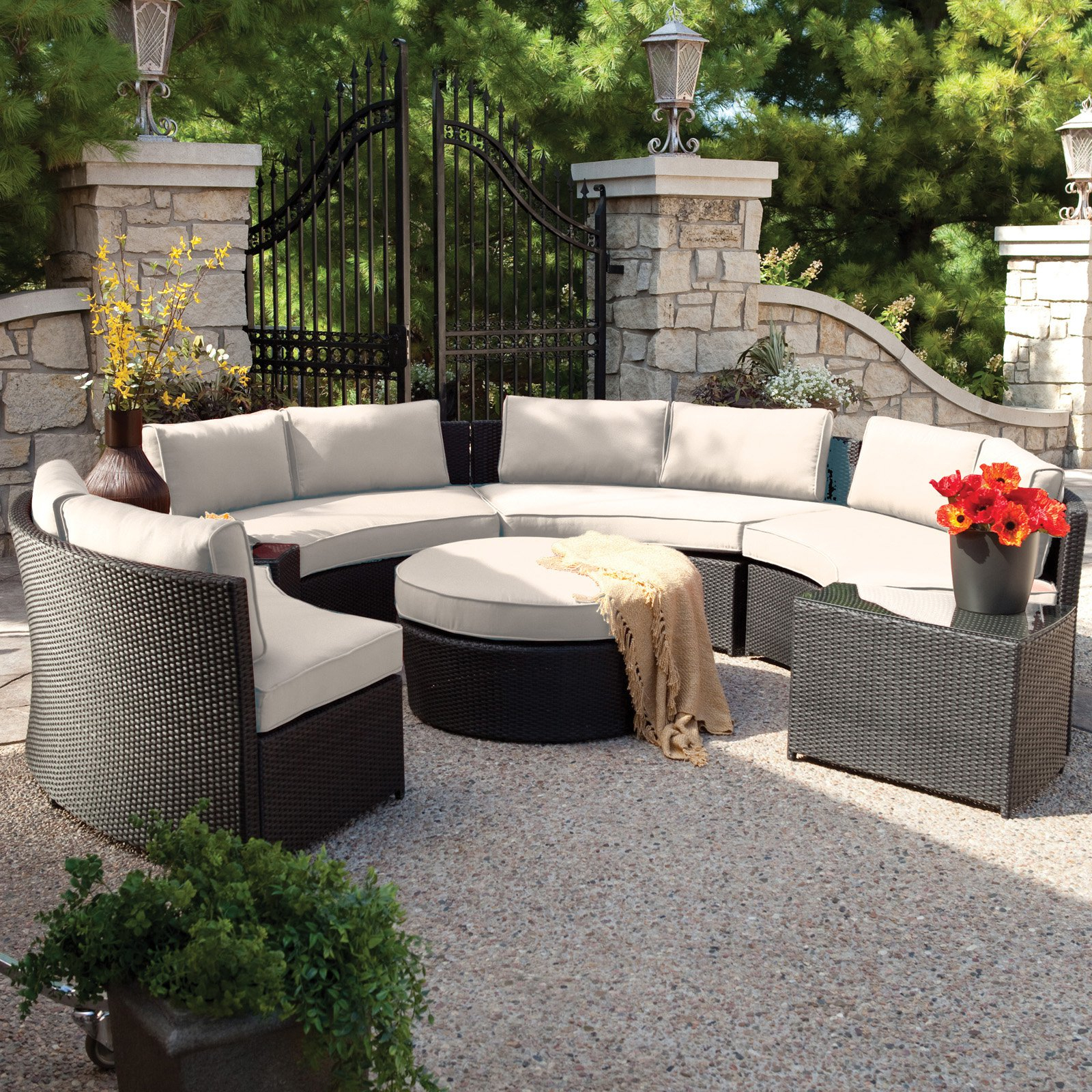 Trendy Ostrowski Patio Sectionals With Cushions With Regard To Resin Wicker Patio Furniture – Home Decor Ideas – Editorial (View 17 of 25)
