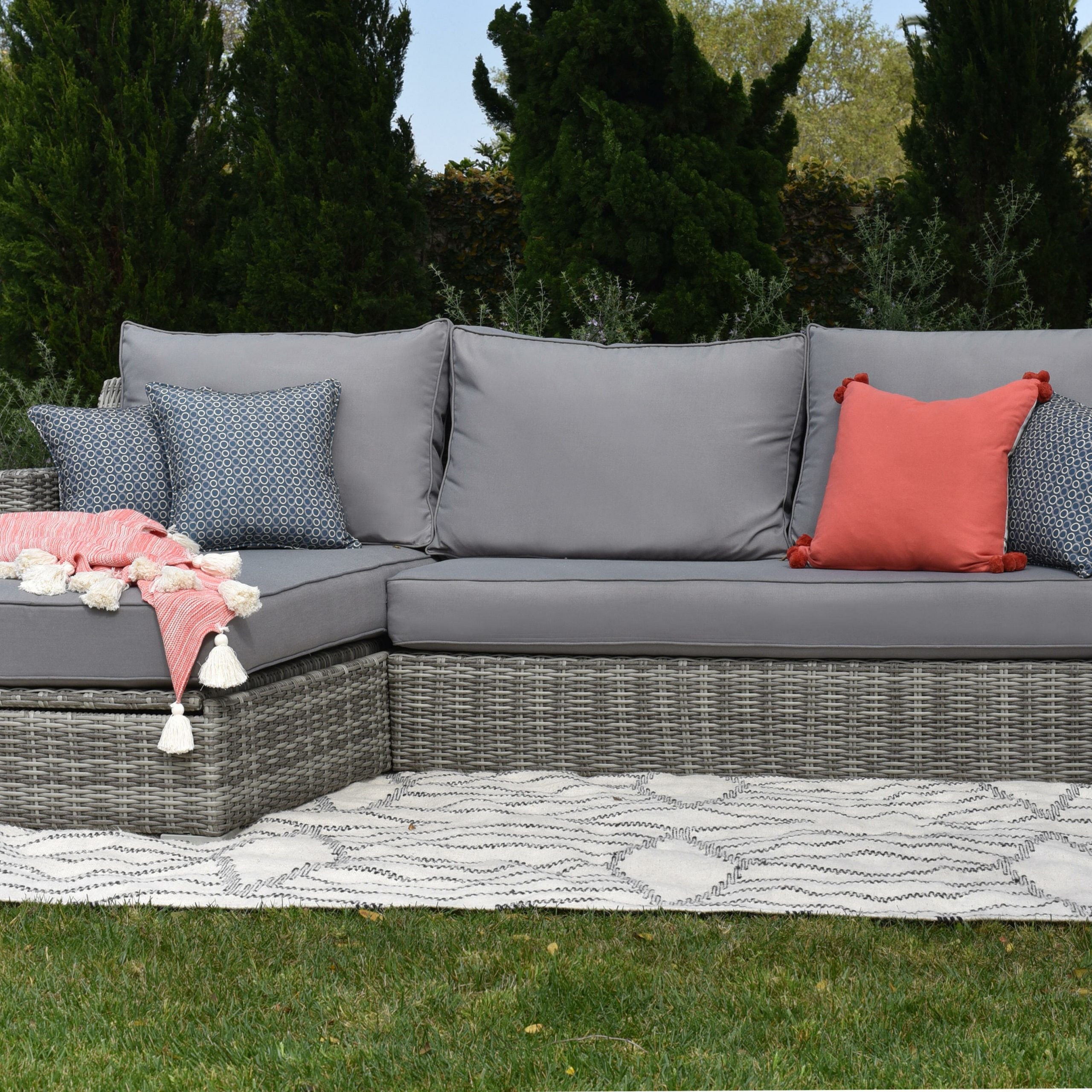 Vallauris Storage Patio Sectional With Cushions Regarding 2019 Catalina Outdoor Right Arm Sectional Pieces With Cushions (Gallery 18 of 25)