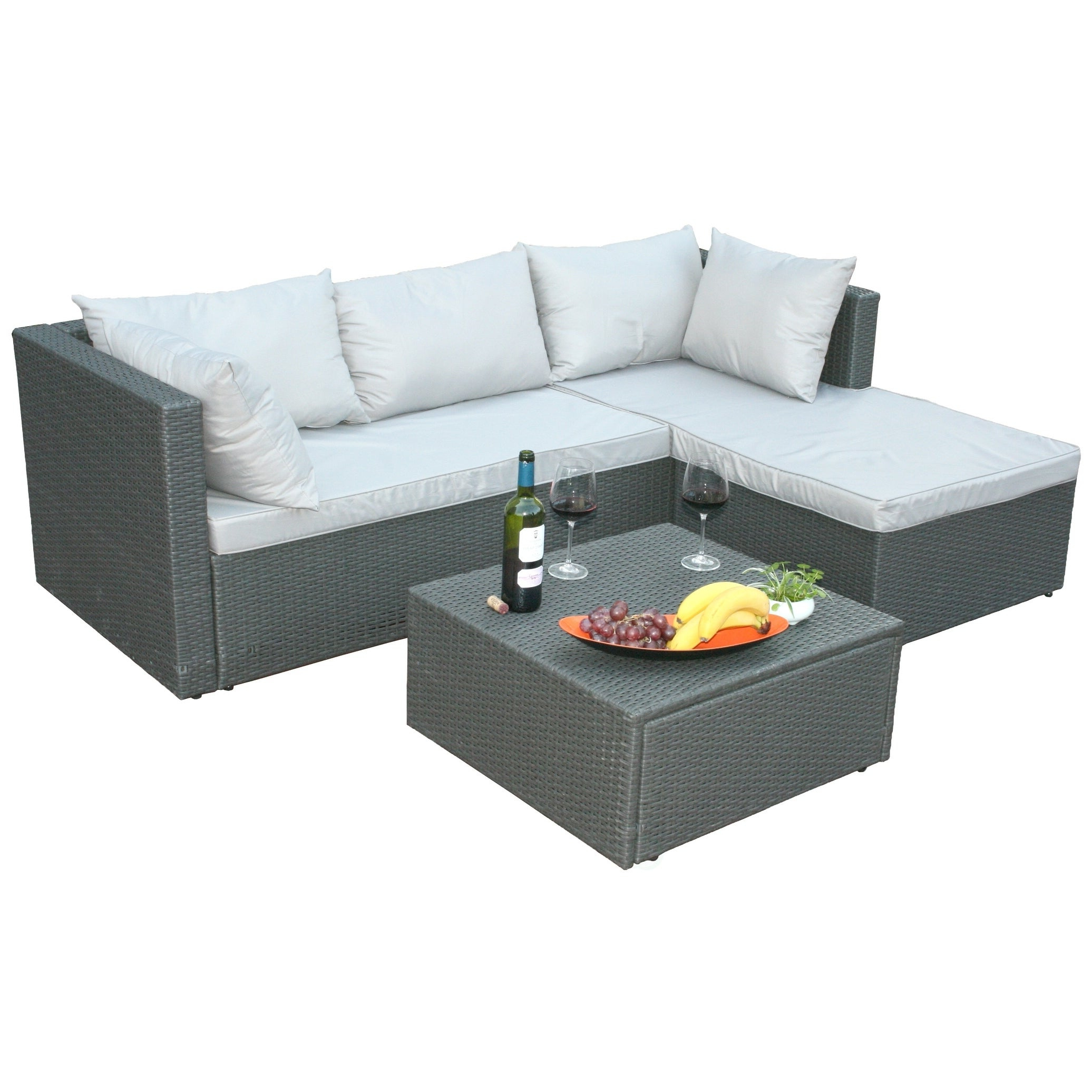 Vallauris Storage Patio Sectionals With Cushions Pertaining To Current Outdoor Patio Garden Sectional Sofa, Cushion And Ottoman/coffee Table (View 21 of 25)