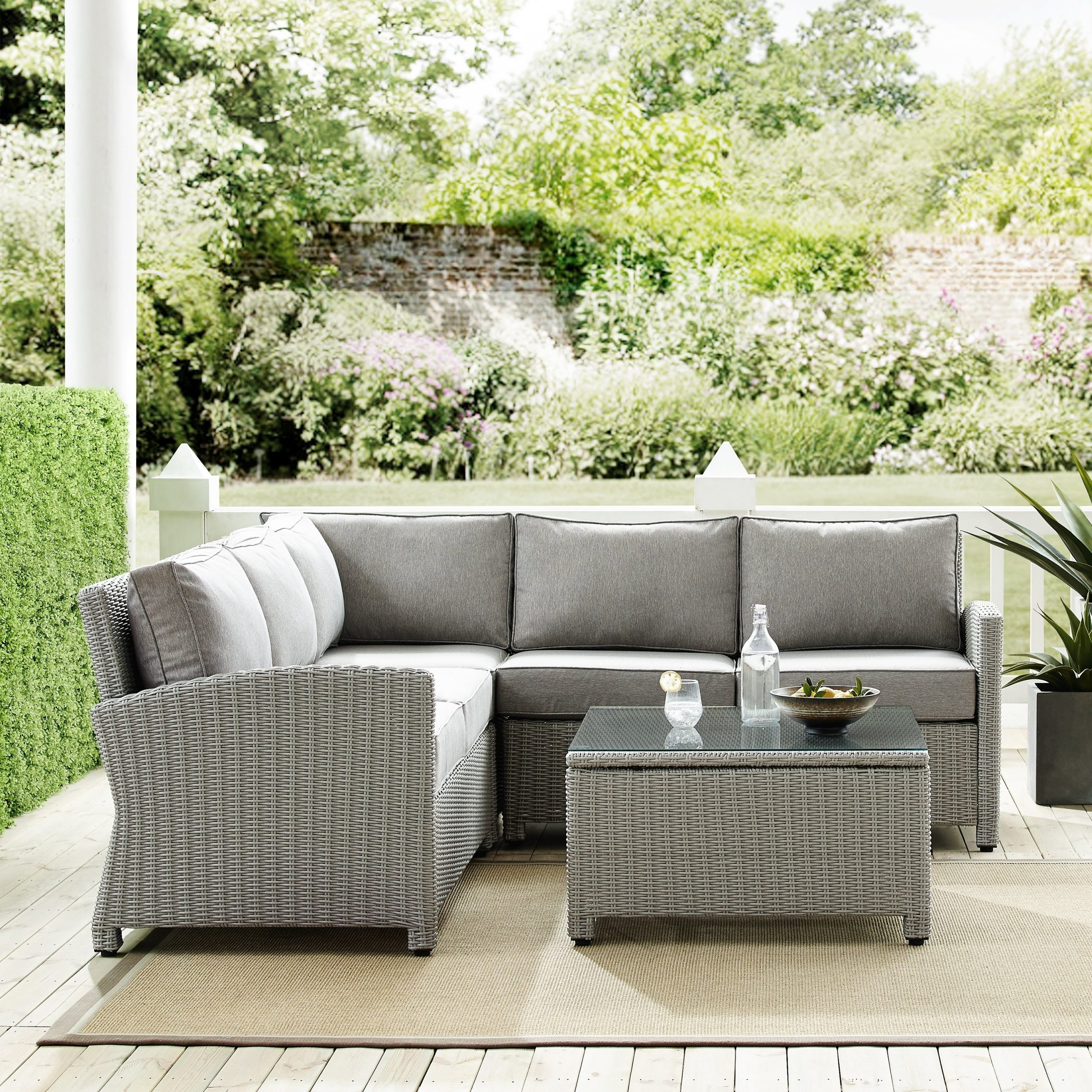 Vallauris Storage Patio Sectionals With Cushions Regarding Trendy Havenside Home Cambridge Bay 4 Piece Outdoor Wicker Sectional Set (View 23 of 25)