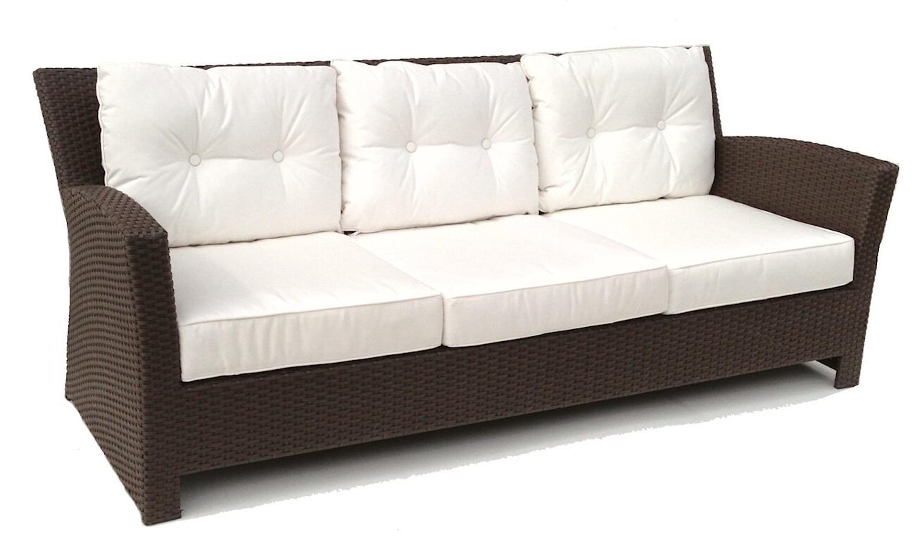 Vandewa Patio Sofa With Sunbrella Cushions Throughout Preferred Astrid Wicker Patio Sofas With Cushions (Gallery 23 of 25)