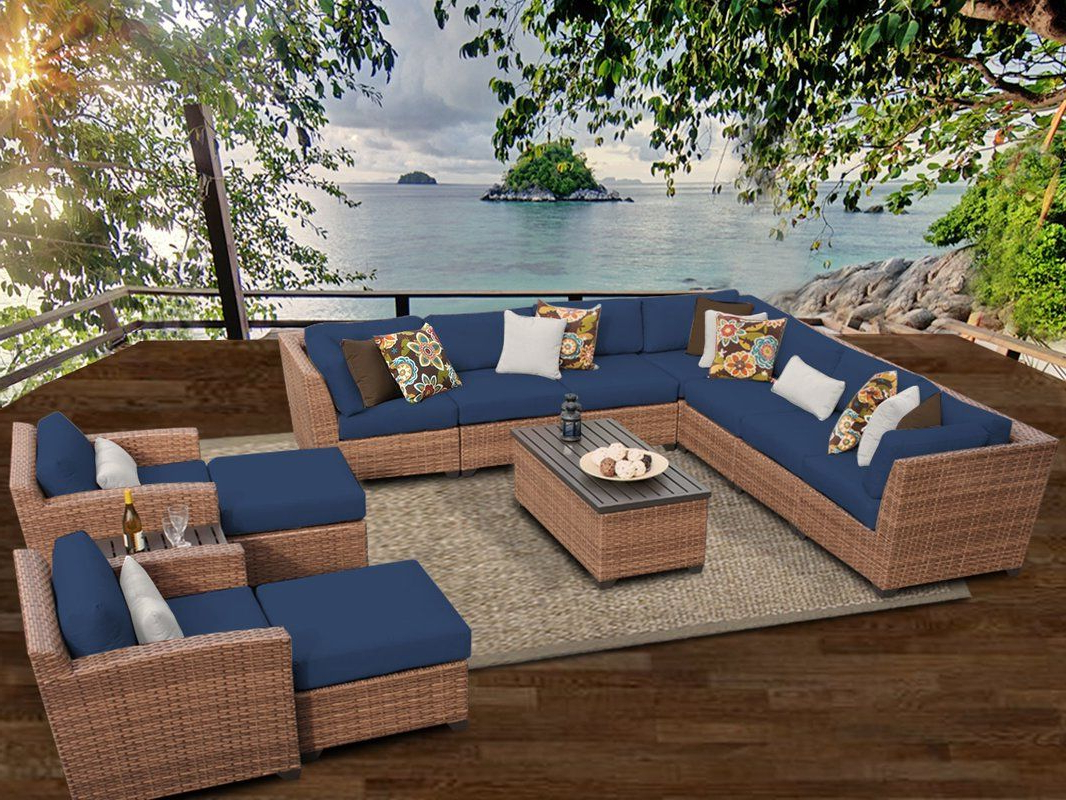 Waterbury 13 Piece Rattan Sectional Seating Group With Intended For Preferred Waterbury Patio Sectionals With Cushions (View 7 of 25)