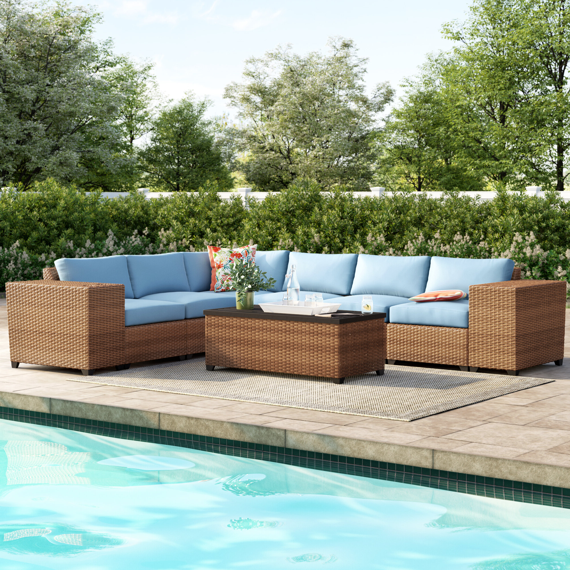 Waterbury 9 Piece Sectional Seating Group With Cushions Pertaining To Fashionable Waterbury Patio Sectionals With Cushions (View 17 of 25)