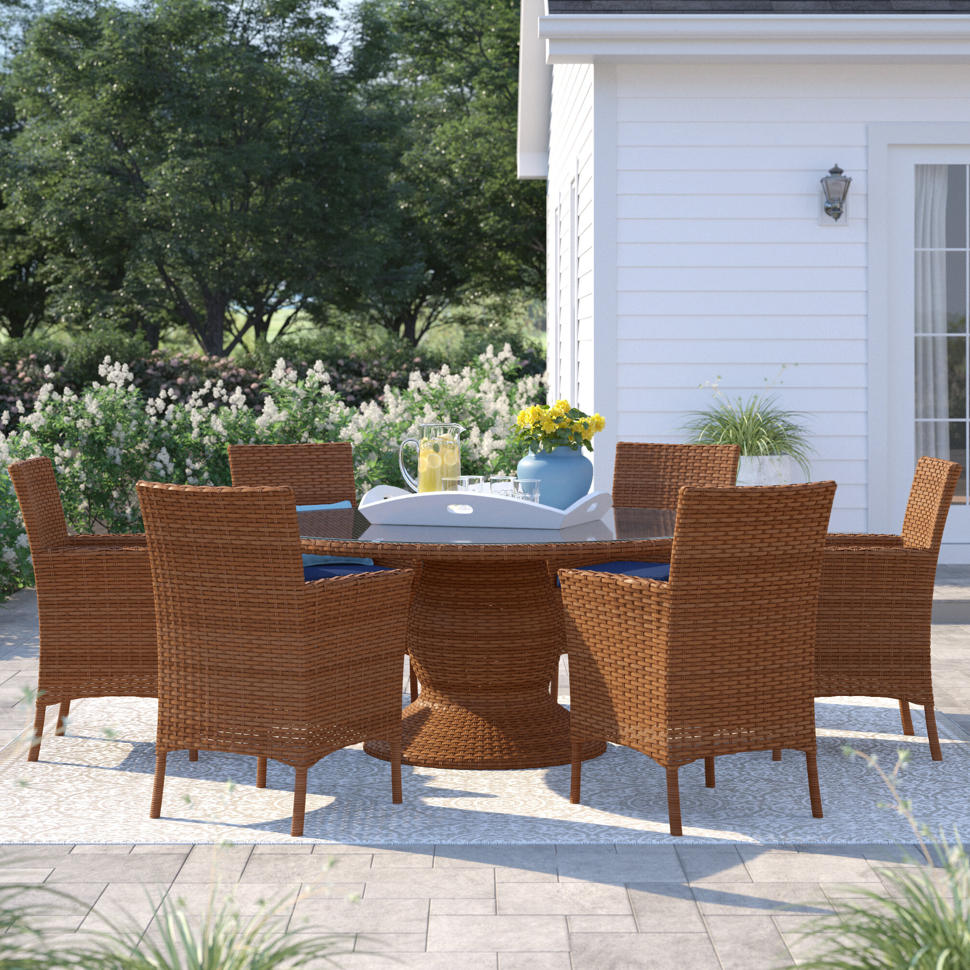 Waterbury Patio 7 Piece Dining Set With Cushions Within Most Popular Waterbury Patio Sectionals With Cushions (Gallery 16 of 25)