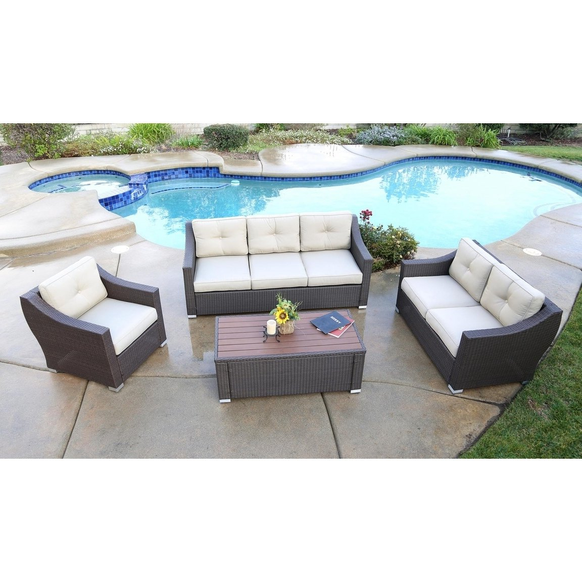 Waterbury Patio Sectionals With Cushions Regarding Well Liked South Beach 4 Pieces Deep Seating Set, Brown, Outdoor Patio (Gallery 19 of 25)