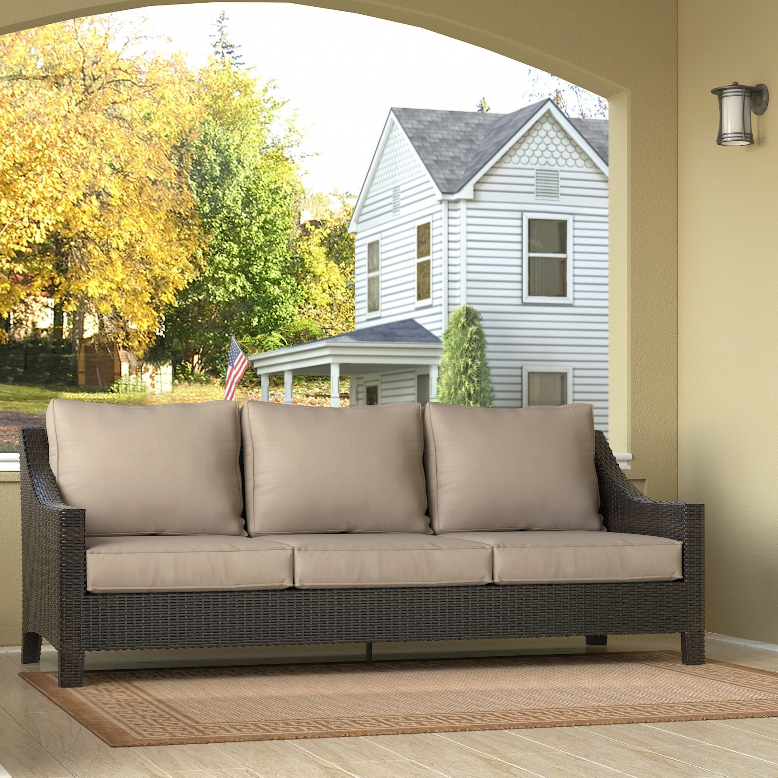 Well Known Astrid Wicker Patio Sofas With Cushions Pertaining To Tahoe Outdoor Wicker Patio Sofa With Cushions (View 23 of 25)