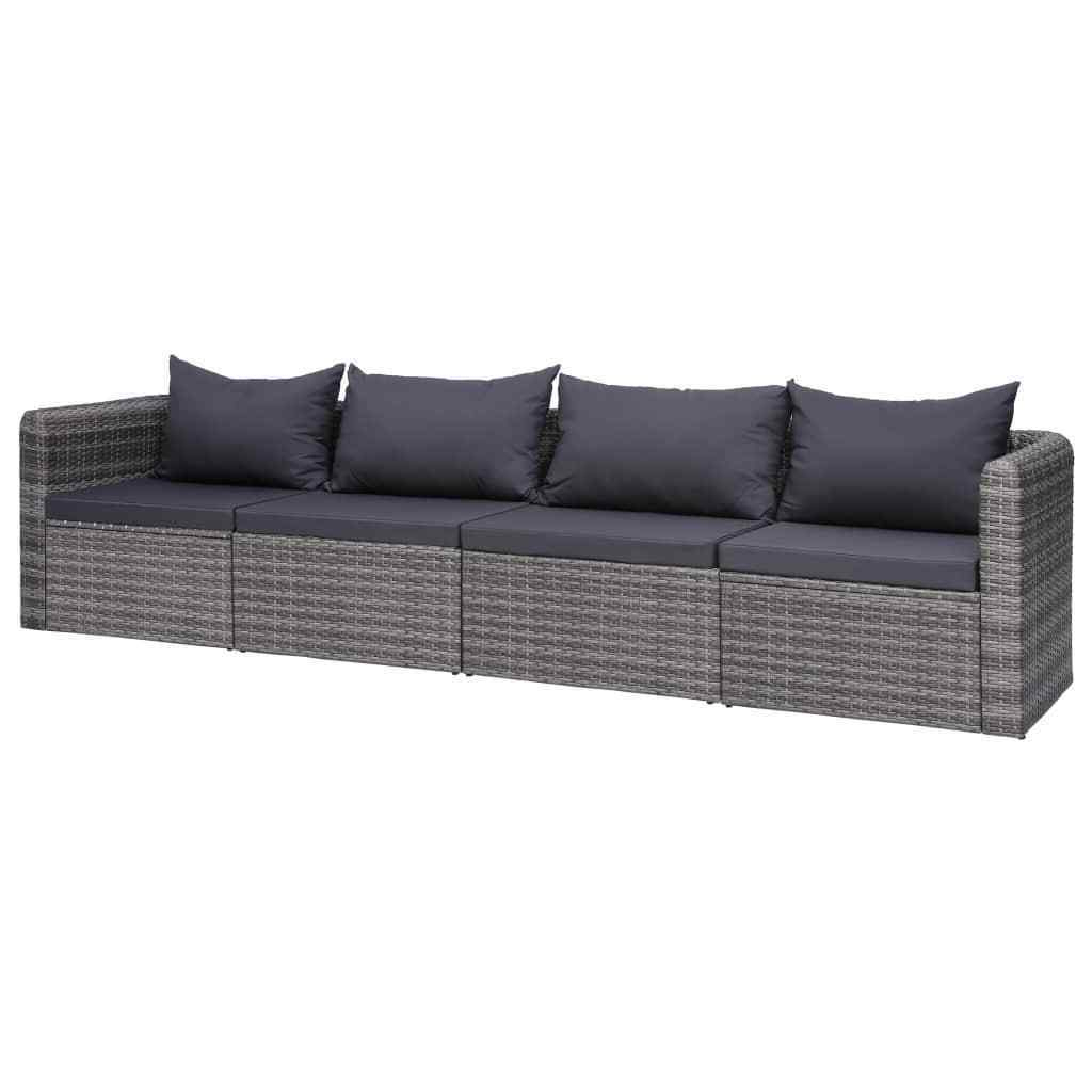 Well Known Burruss Patio Sectionals With Cushions Regarding Vidaxl 4 Piece Garden Sofa Set With Cushions Gray Poly Rattan Outdoor Seat (View 13 of 25)