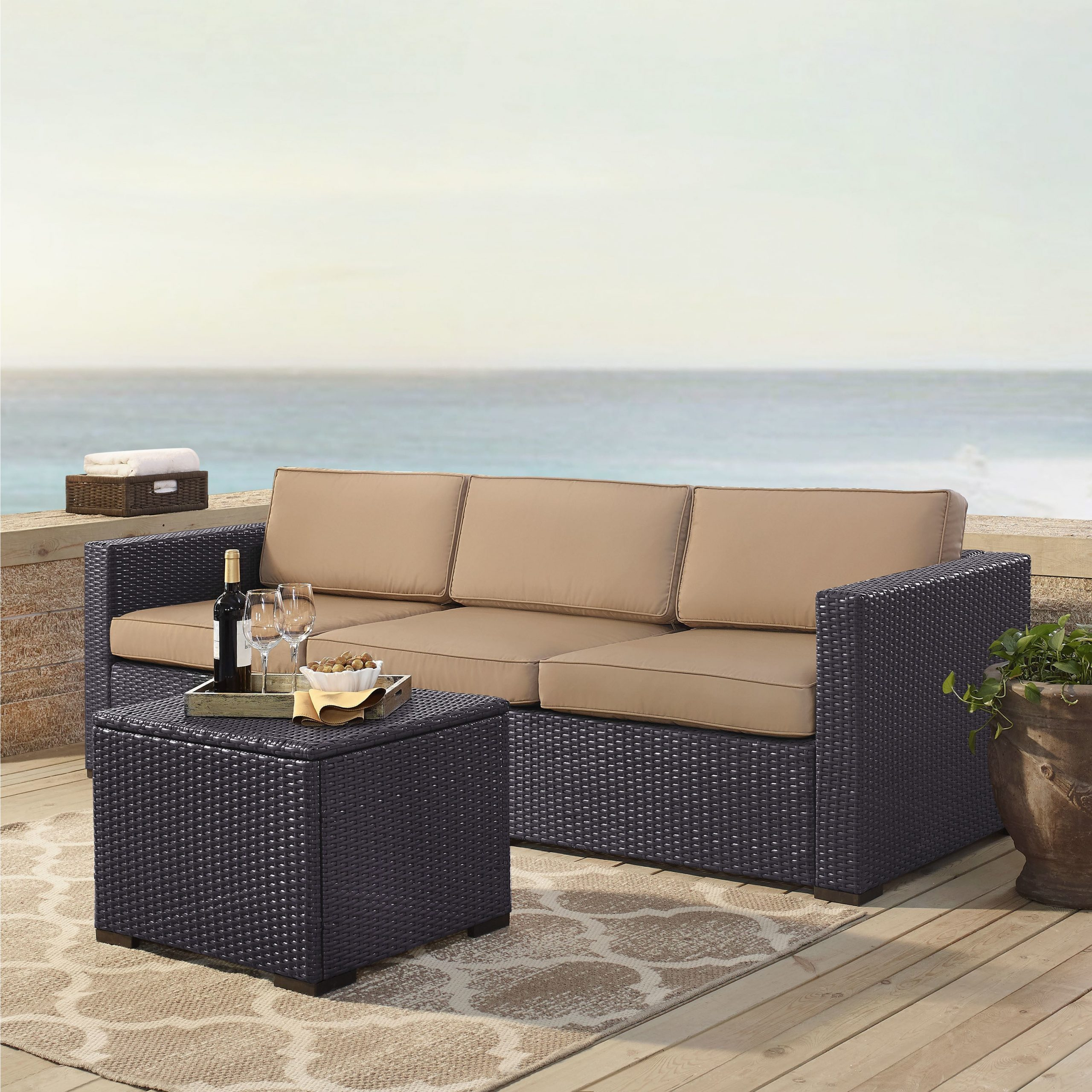 Well Known Deandra Loveseats With Cushions Inside Details About Biscayne Wicker 3 Piece Outdoor Seating Set With Mocha Brown  2 Piece Sets (View 20 of 25)