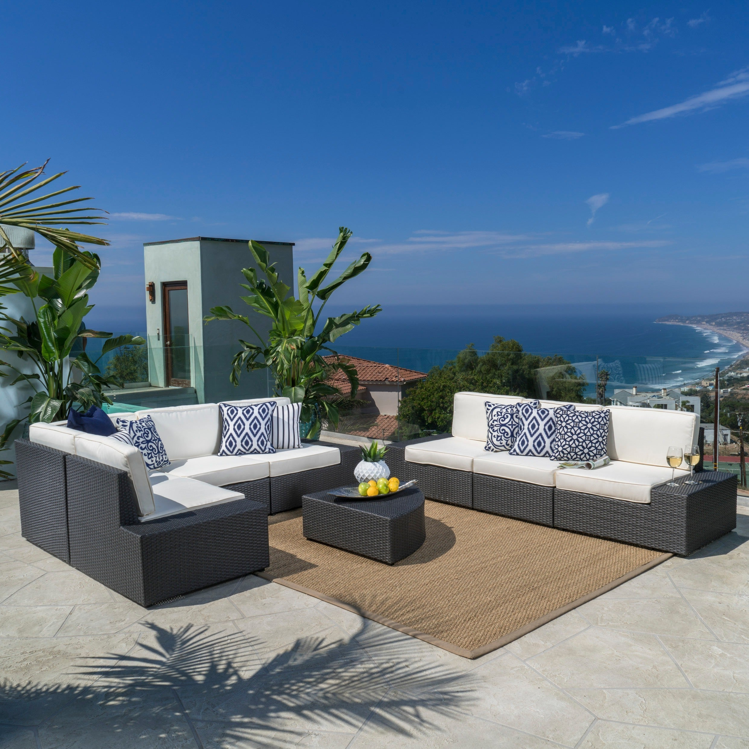 Well Known Details About Santa Cruz Outdoor 8 Piece Wicker Sectional Sofa Set With In Catalina Outdoor Right Arm Sectional Pieces With Cushions (Gallery 12 of 25)