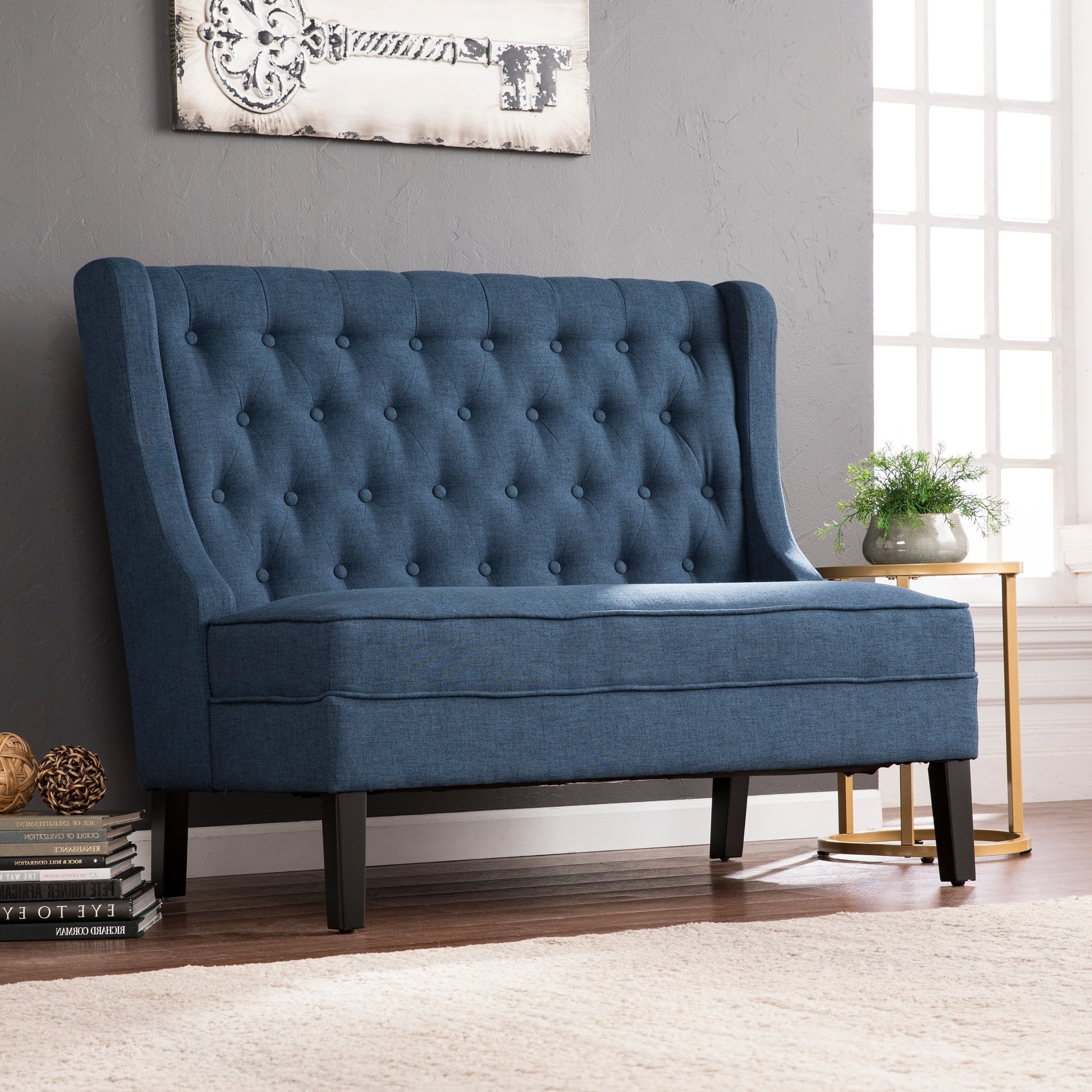 Well Known Harper Blvd Lincoln Charcoal High Back Tufted Settee Bench For Deandra Loveseats With Cushions (View 22 of 25)