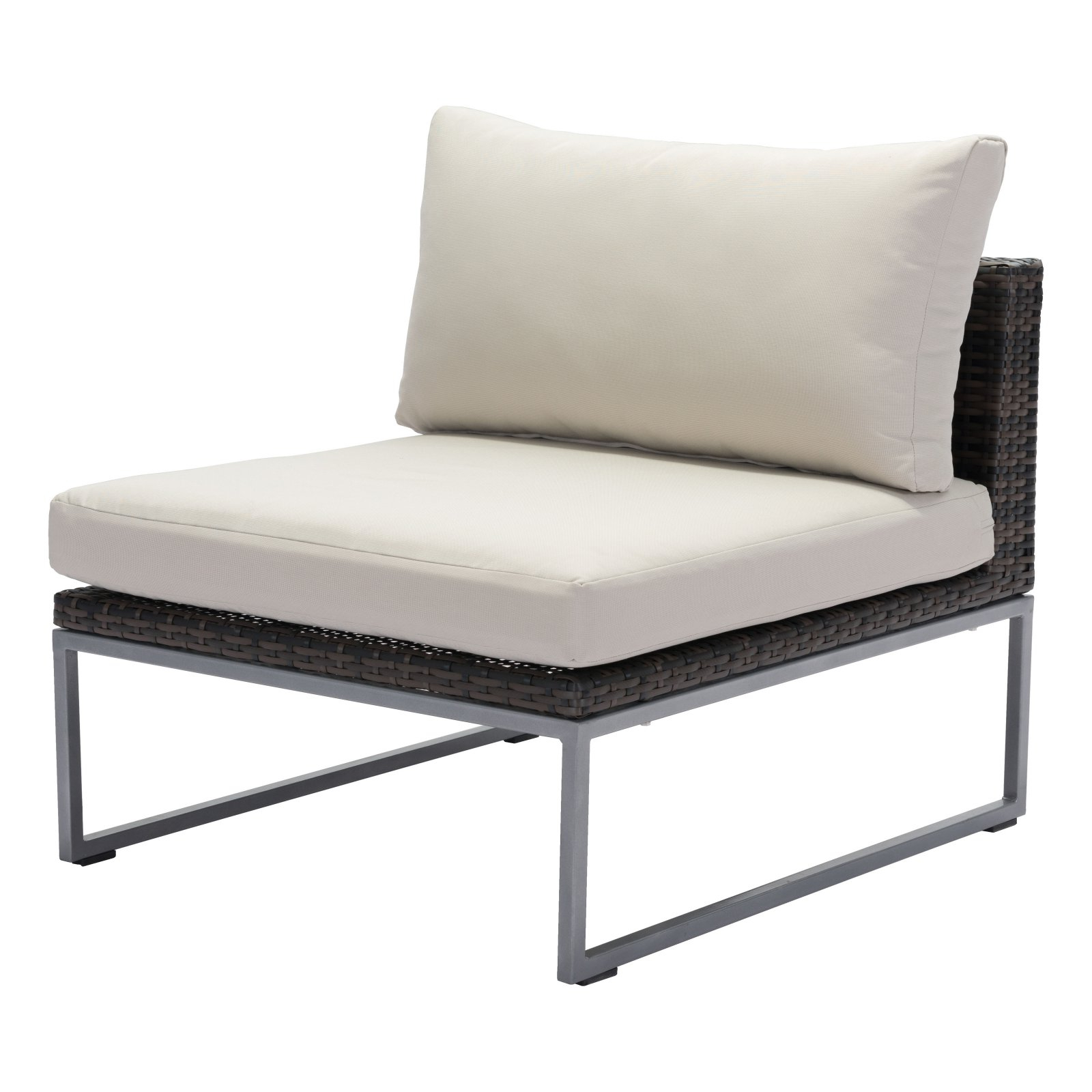 Well Known Outdoor Zuo Modern Malibu Aluminum Patio Middle Chair In With Repp Patio Sofas With Cushion (Gallery 15 of 25)