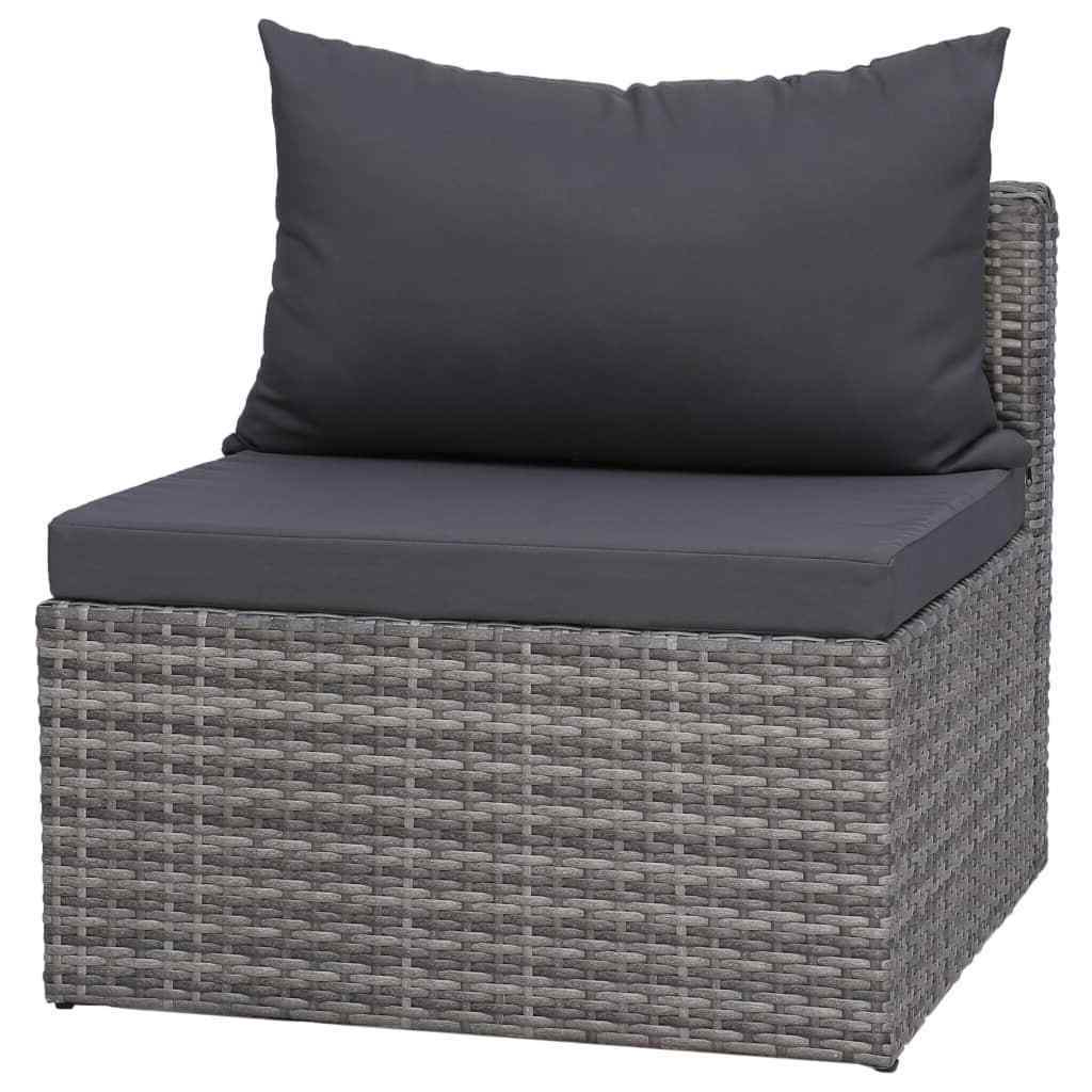 Well Known Vidaxl 4 Piece Garden Sofa Set With Cushions Gray Poly Rattan Outdoor Seat Within Burruss Patio Sectionals With Cushions (Gallery 19 of 25)