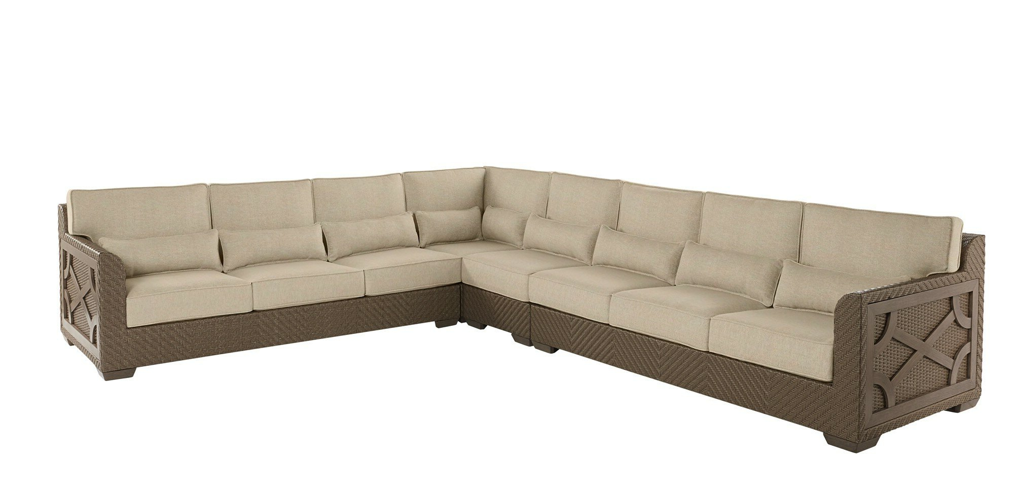 Well Liked Astrid Symmetrical Modular Sectional Inside Astrid Wicker Patio Sofas With Cushions (Gallery 6 of 25)