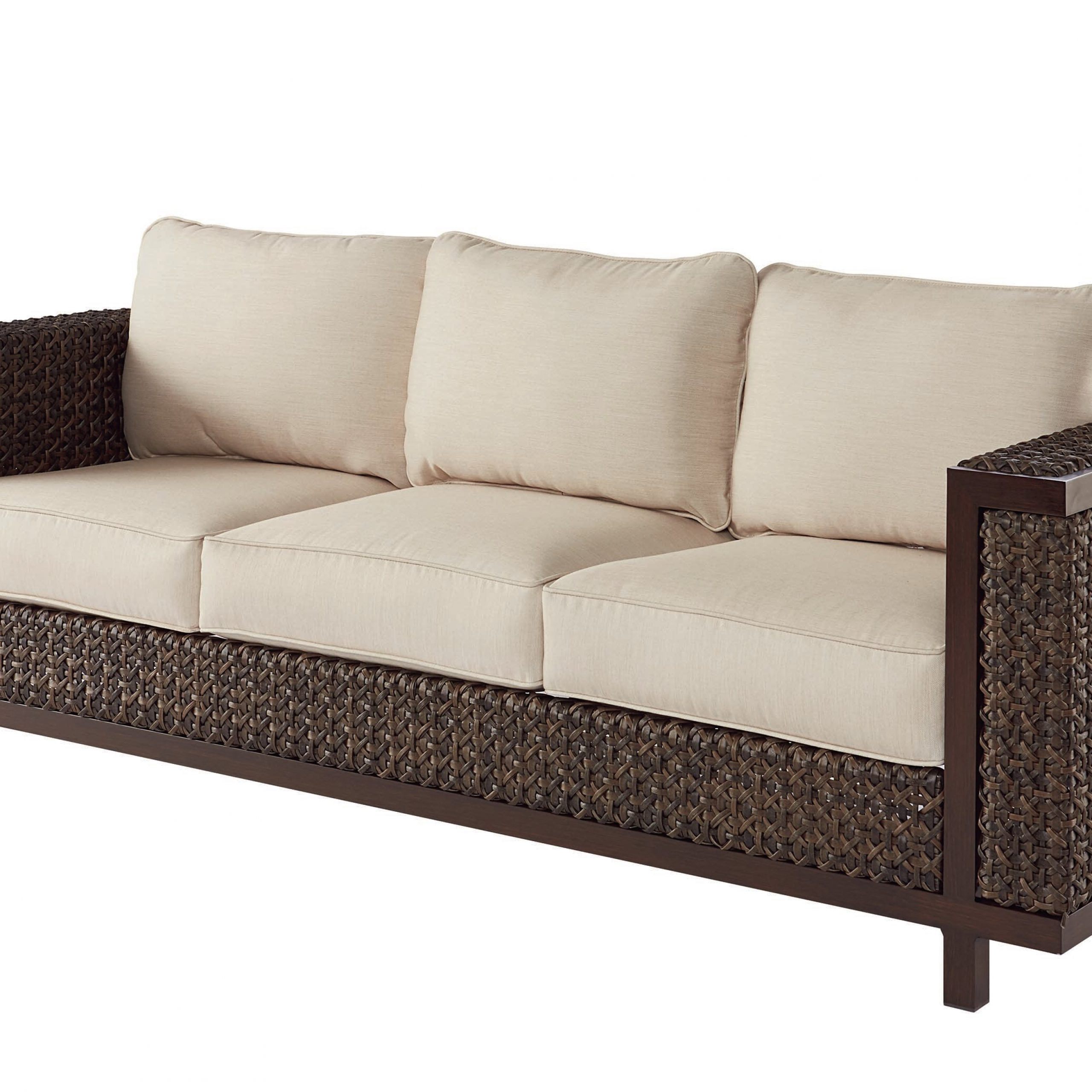 Well Liked Astrid Wicker Patio Sofas With Cushions Within Asphodèle Wicker Patio Sofa With Cushions (View 1 of 25)