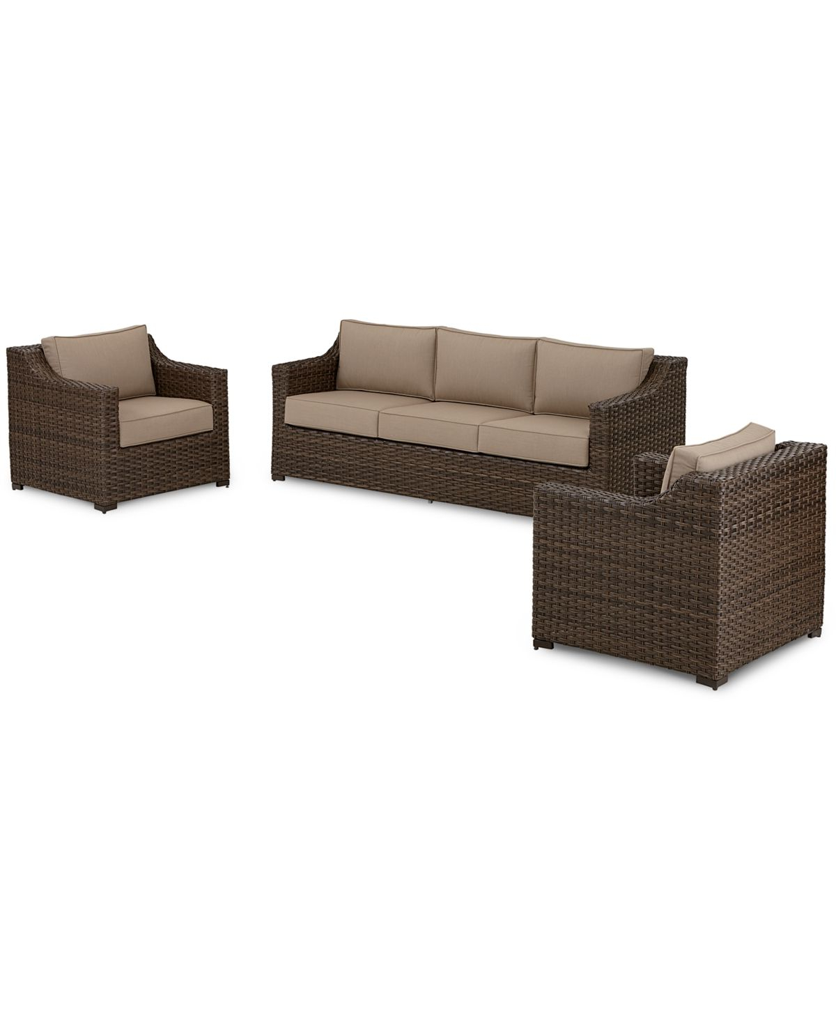 Well Liked Eldora Patio Sectionals With Cushions Inside Camden Outdoor Wicker 3 Pc (View 18 of 25)