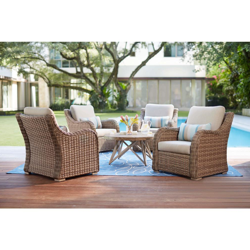 Well Liked Home Decorators Collection Gwendolyn 5 Piece Wicker Patio Deep Seating Set  With Sunbrella Cast Ash Cushions In 4 Piece Sierra Sunbrella Seating Group (Gallery 6 of 25)