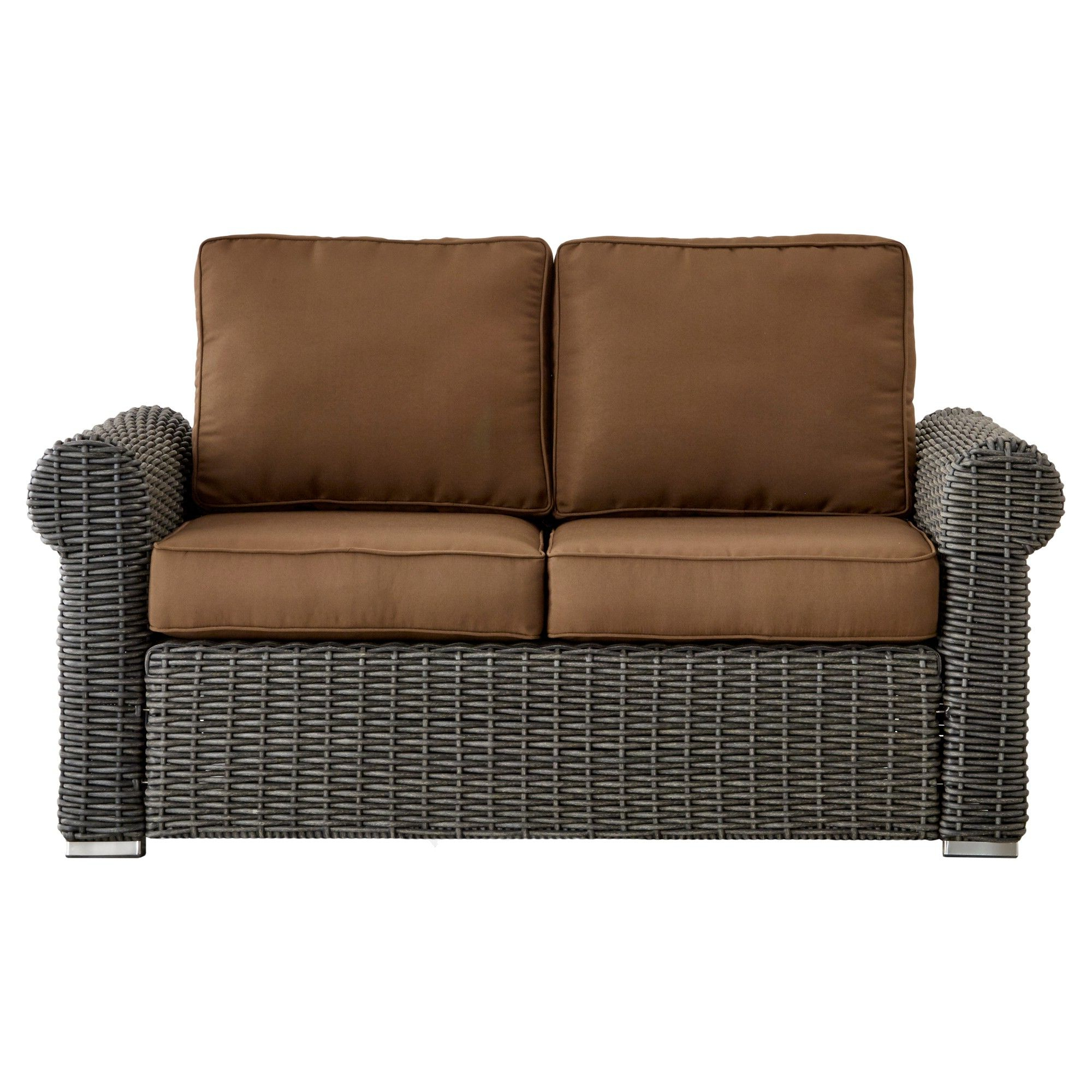 Well Liked Lawson Wicker Loveseats With Cushions For Riviera Pointe Wicker Patio Round Arm Loveseat With Cushions (Gallery 12 of 25)