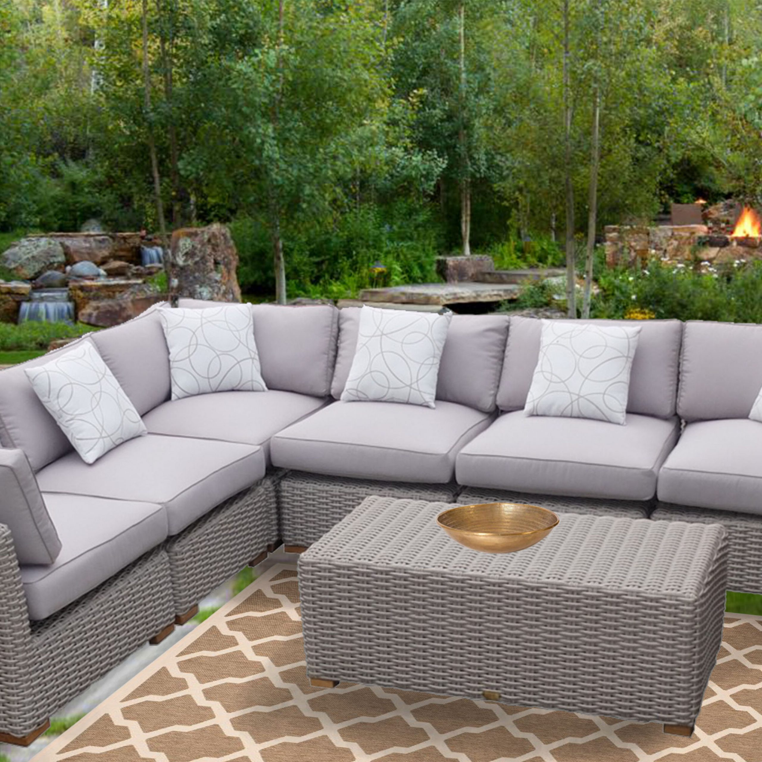 Well Liked Letona Patio Sectionals With Cushions In Dutil 7 Piece Rattan Sunbrella Sectional Seating Group With Cushions (View 11 of 25)