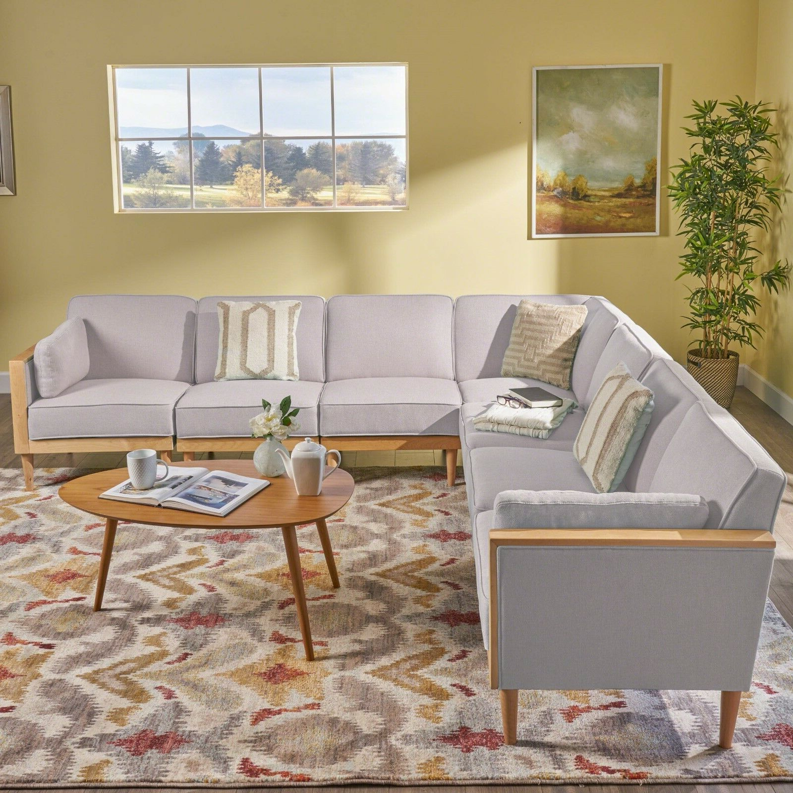 Well Liked Tegan Patio Sofas With Cushions Intended For Tegan 7 Piece Mid Century Deep Seating Sectional Sofa Set, With Piped Cushions (View 22 of 25)