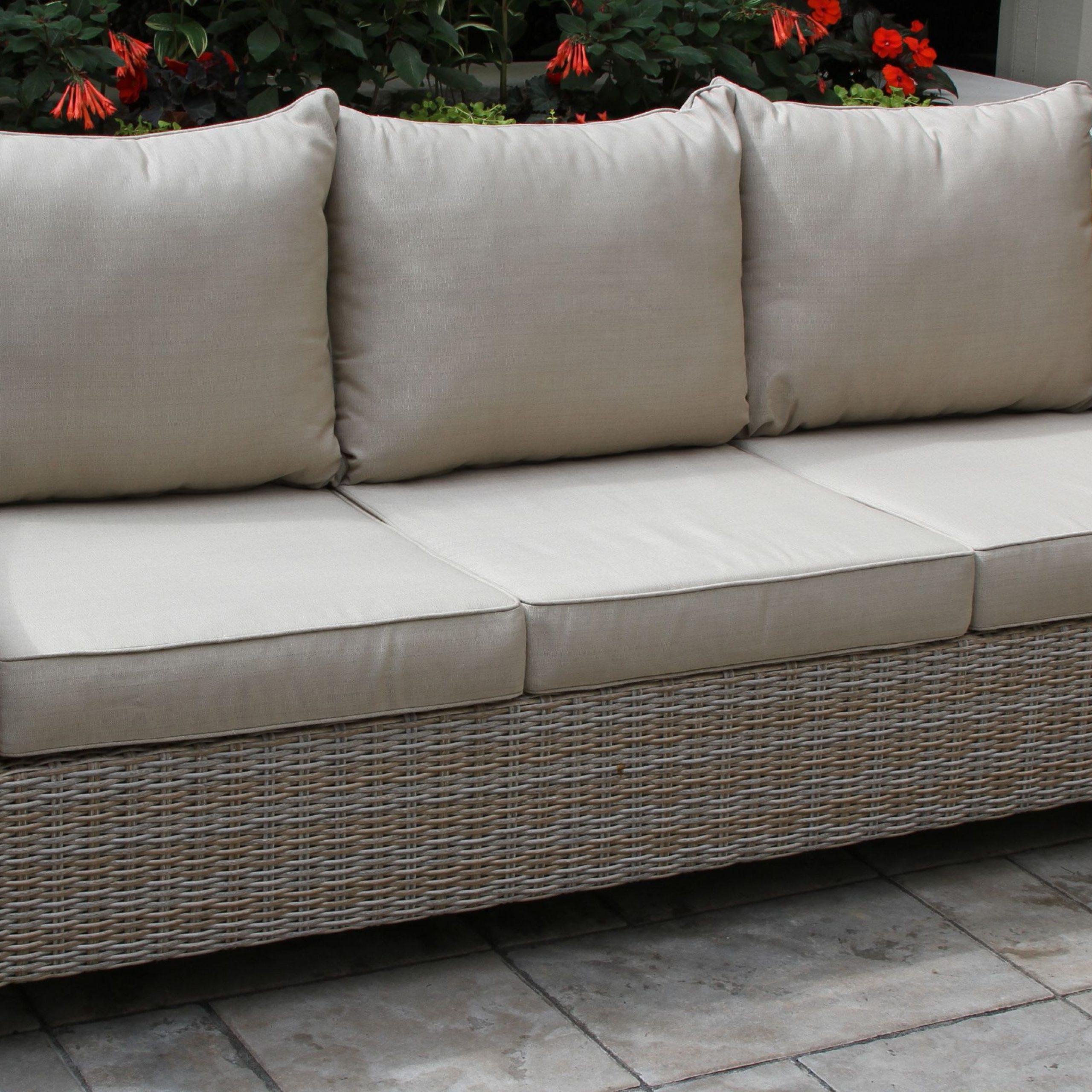Well Liked Vineyard Teak & Wicker Sofa With Sunbrella Cushions With Regard To Kincaid Teak Patio Sofas With Sunbrella Cushions (View 6 of 25)