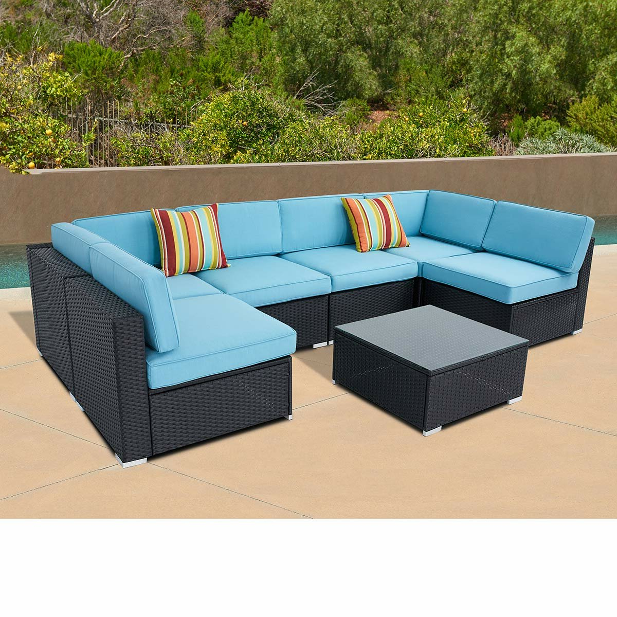 Well Liked Winston Porter Rosenblum Outdoor 7 Piece Black Wicker Full Pertaining To Letona Patio Sectionals With Cushions (View 25 of 25)