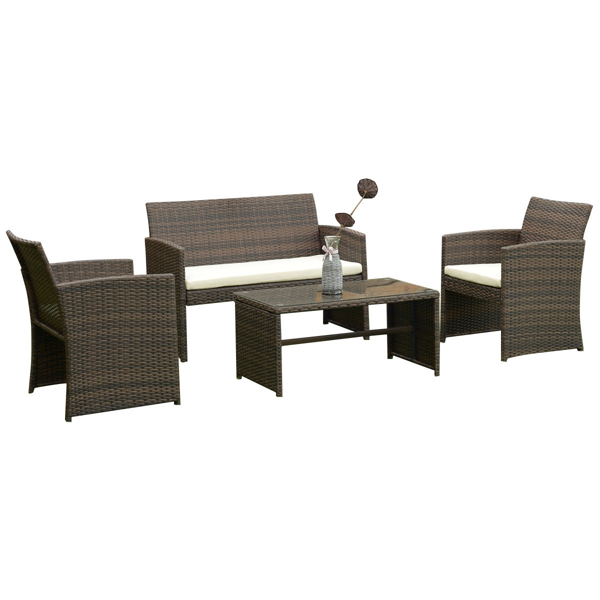 Widely Used 4 Pcs Patio Rattan Wicker Furniture Set Regarding Boyce Outdoor Patio Sectionals With Cushions (View 14 of 25)