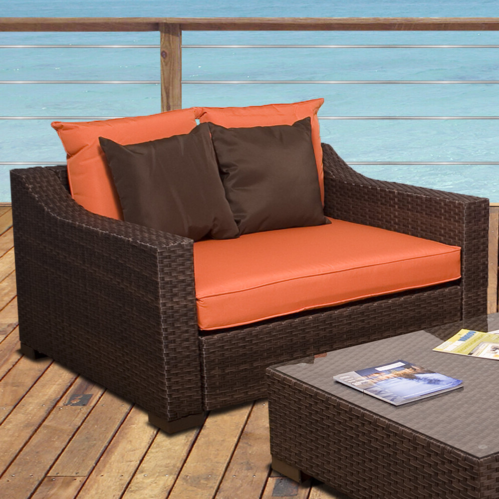 Widely Used Deandra Loveseats With Cushions Intended For Jermal Wicker Loveseat With Cushion (View 25 of 25)