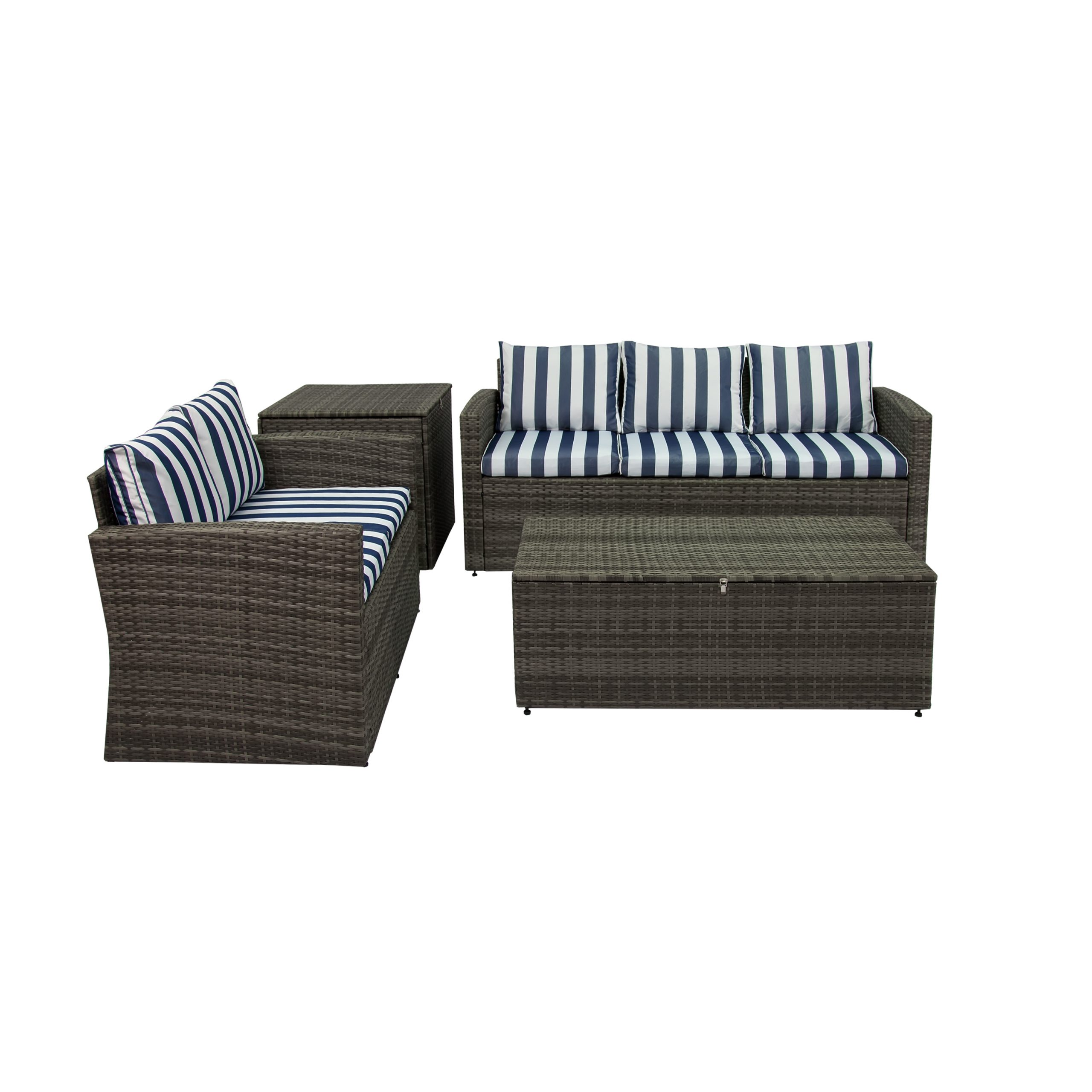Widely Used Rio 4 Piece All Weather Wicker Conversation Set With Storage Pertaining To Oceanside Outdoor Wicker Loveseats With Cushions (View 25 of 25)